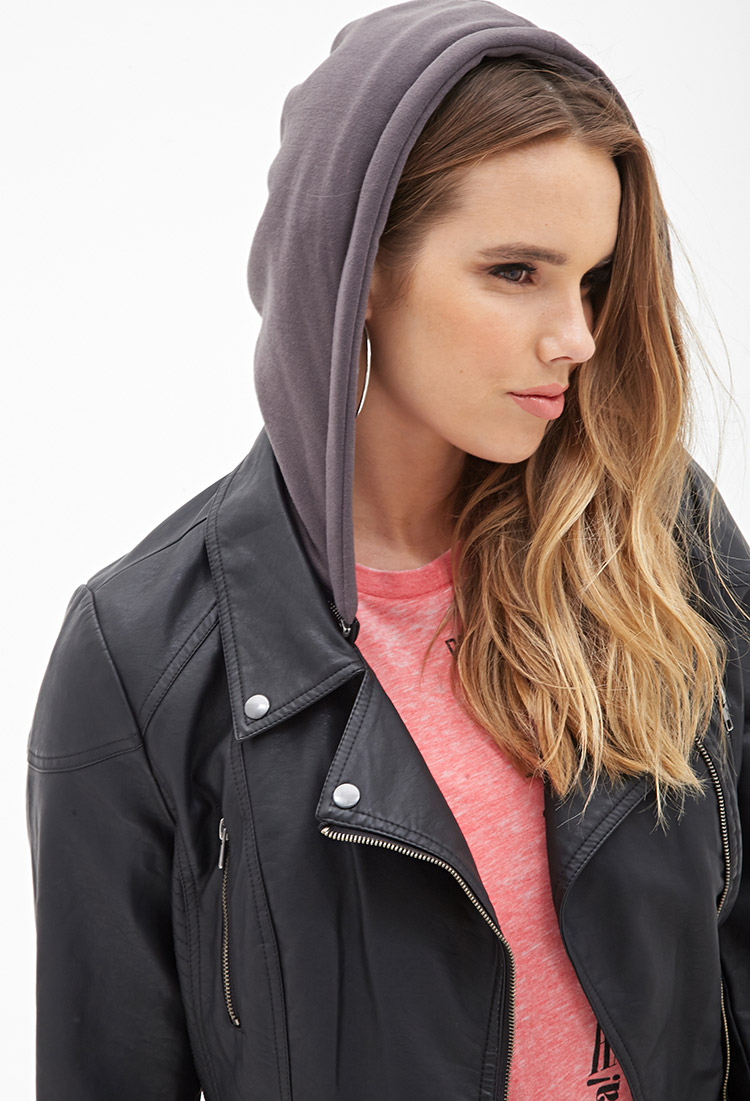 a0ac68bf04e Lyst - Forever 21 Plus Size Hooded Moto Jacket in Black