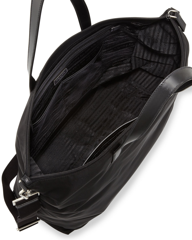 77bd7f4faca92a ... czech lyst prada mens gabardine nylon midsize tote bag in black for men  cfe06 56ecc