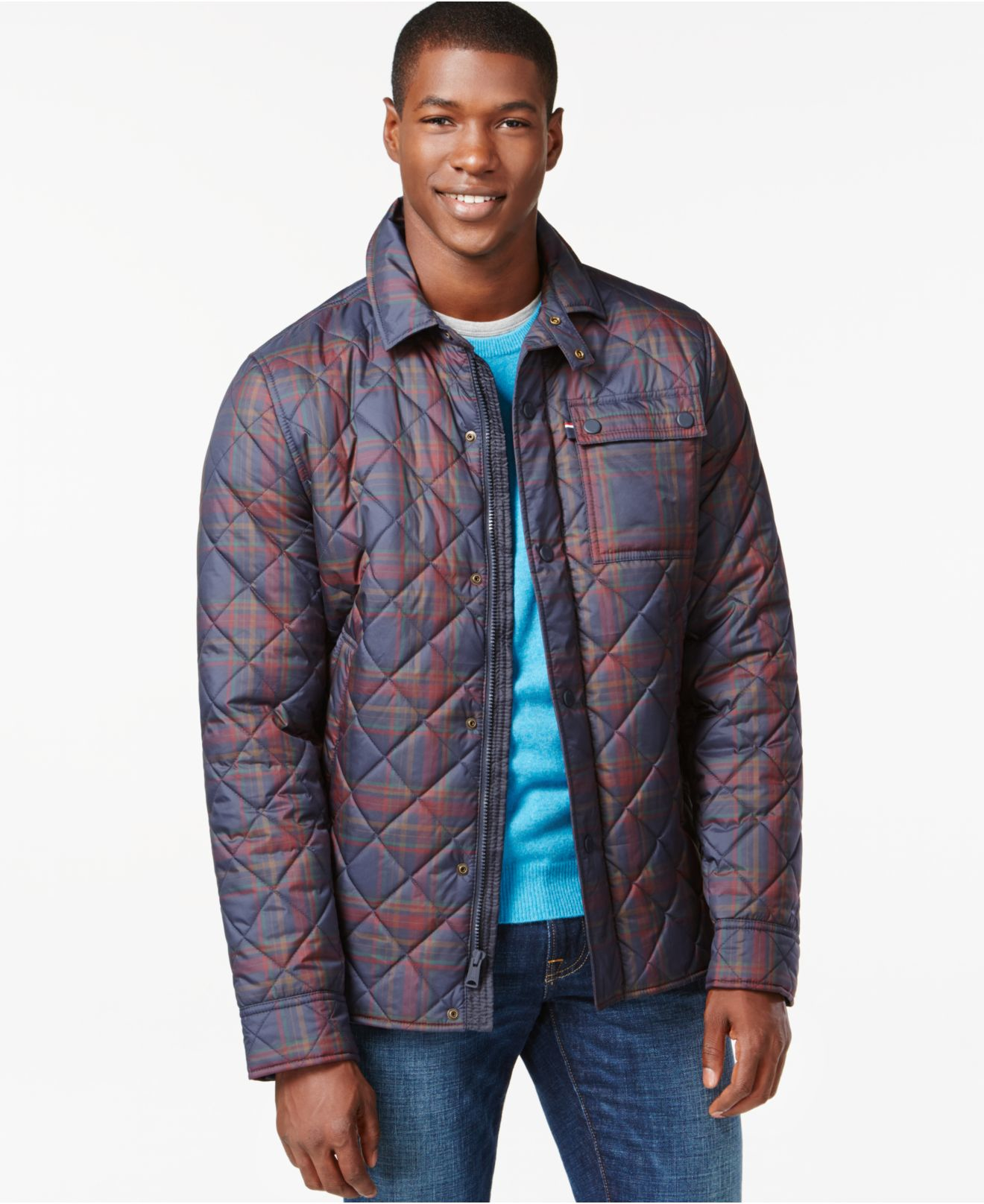Lyst - Tommy Hilfiger Lockheed Quilted Plaid Jacket in ...