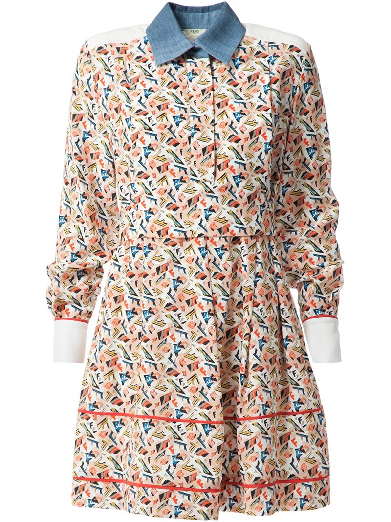 05981779693a Fendi Monogram Print Shirt Dress in Blue - Lyst