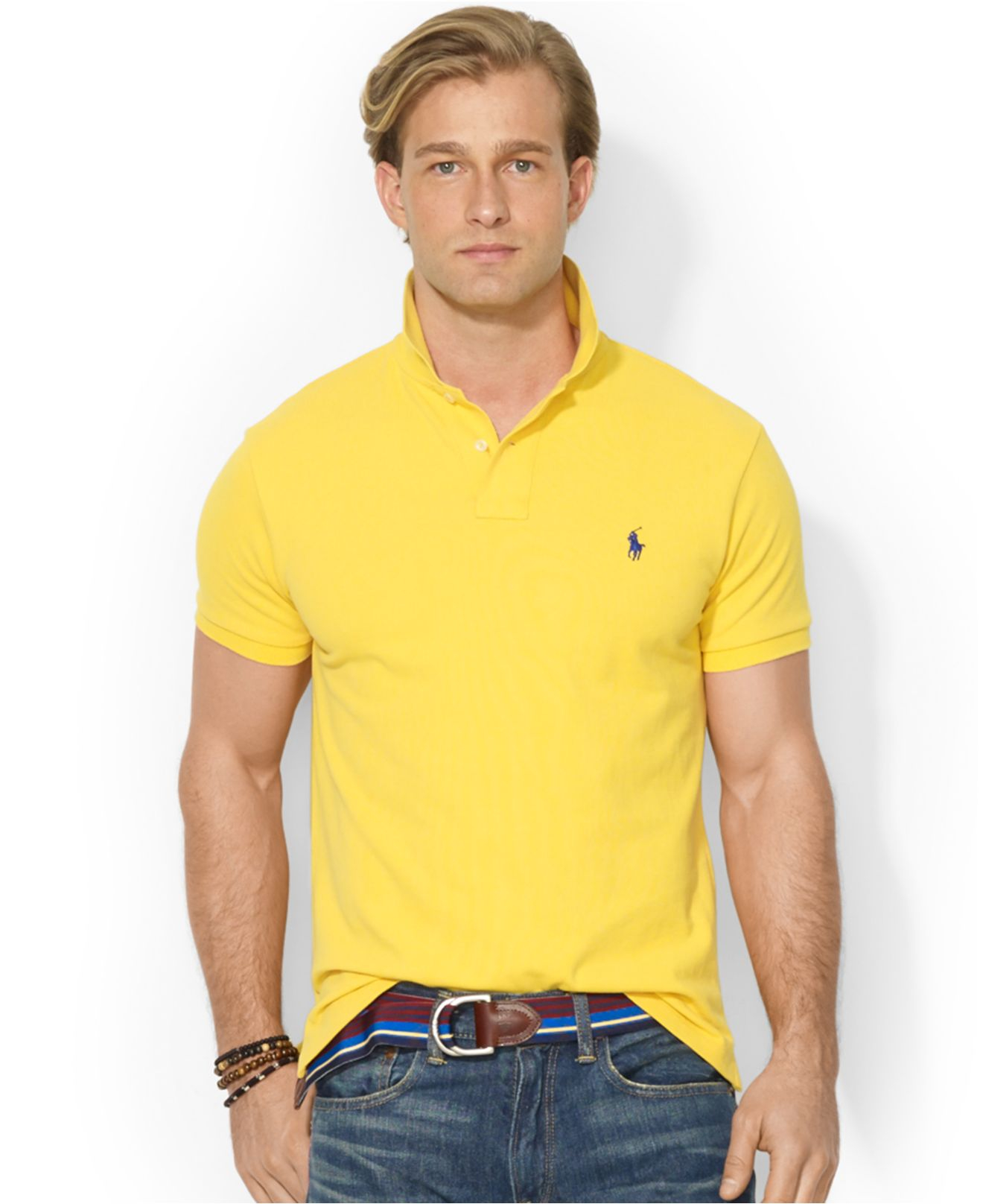 Polo ralph lauren Custom-Fit Mesh Polo in Yellow for Men (Athletic Gold )