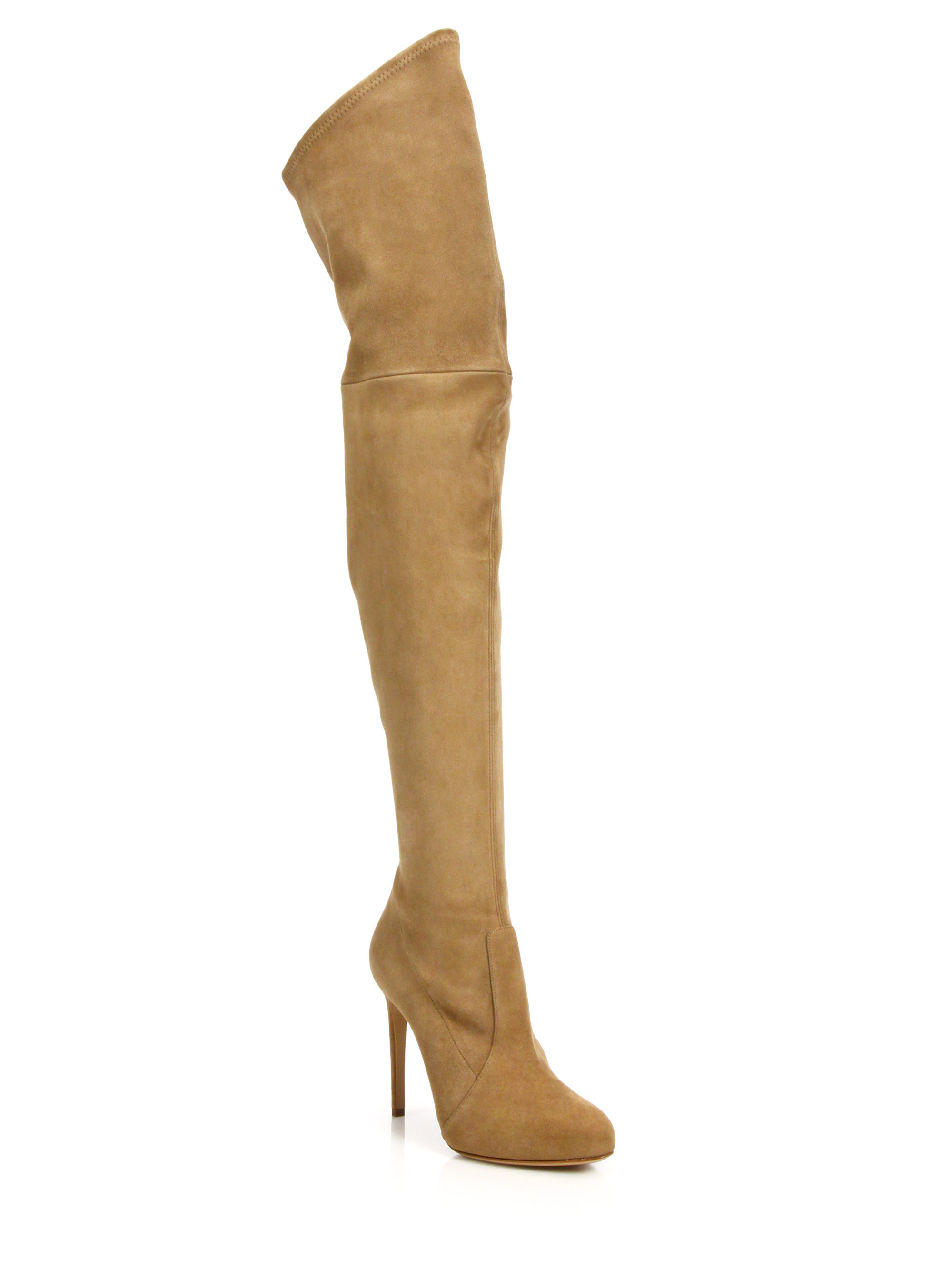 casadei suede the knee boots in brown lyst