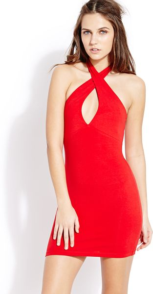 Forever 21 Musthave Halter Dress in Red | Lyst