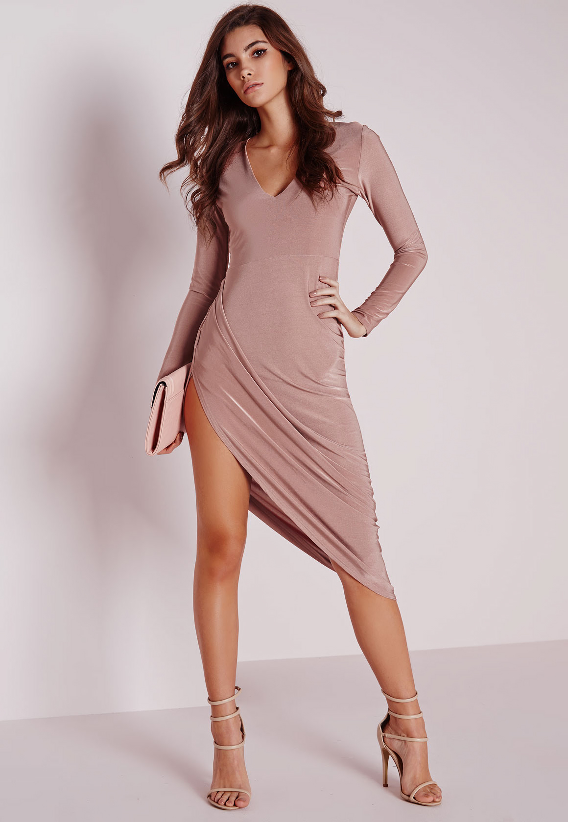 1c0179ff78 Lyst - Missguided Slinky Long Sleeve Ruched Midi Dress Rose in Pink
