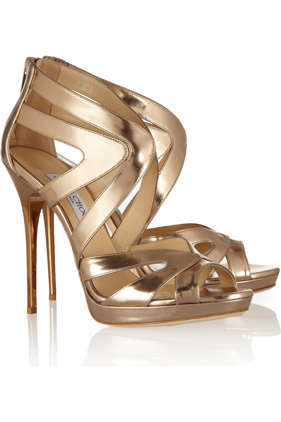 Jimmy Choo Collar Mirrored-Leather Sandals In Gold