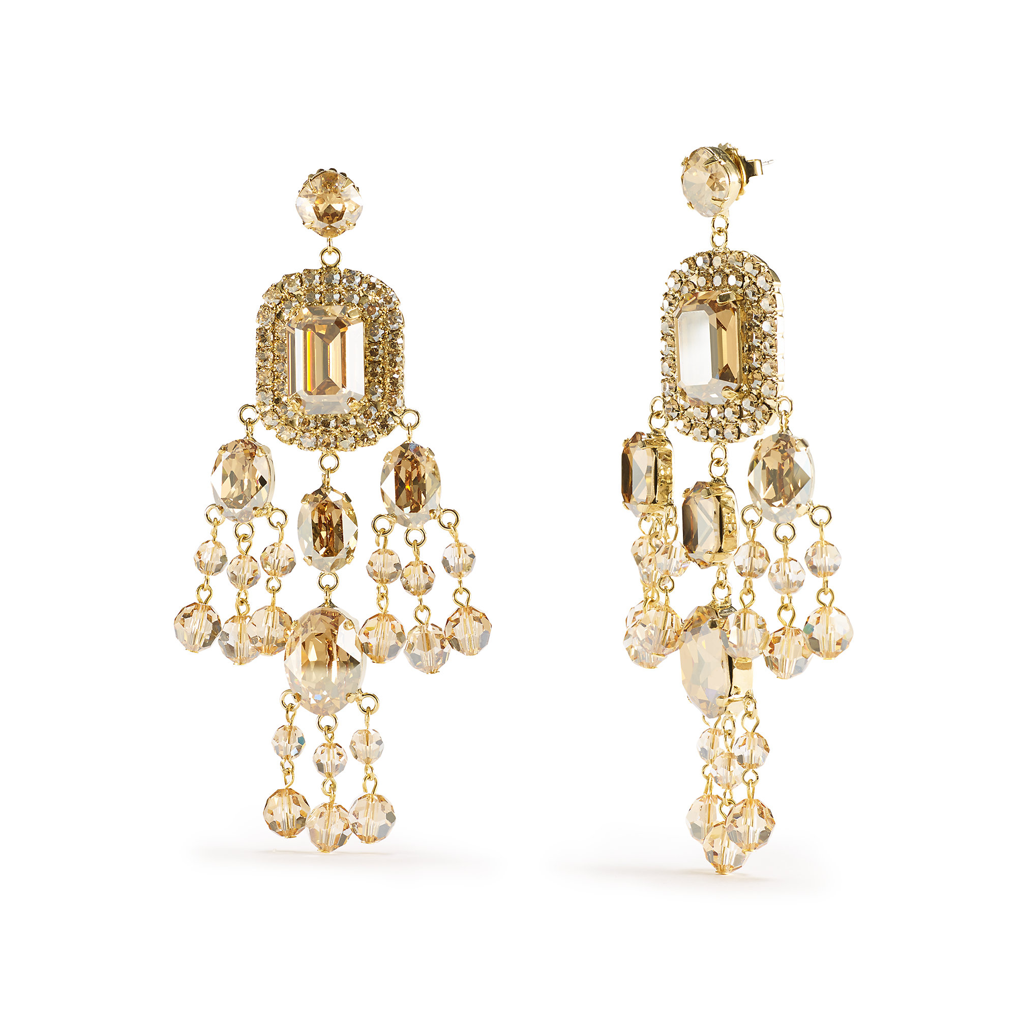 Lyst Ralph lauren Swarovski Chandelier Earrings in Metallic