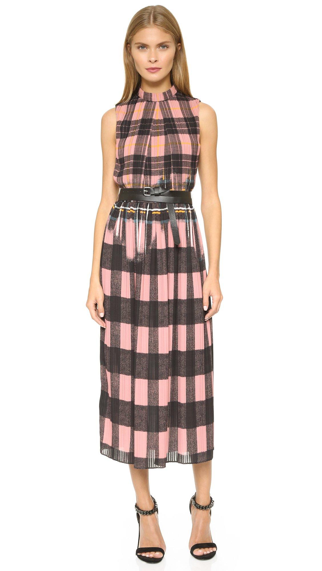 Lyst Victoria Victoria Beckham Check Crepe Dress In Pink