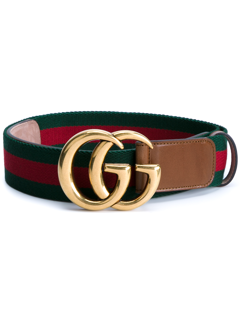 9461acc1c42 Lyst - Gucci Web   Logo Canvas And Leather Belt in Green