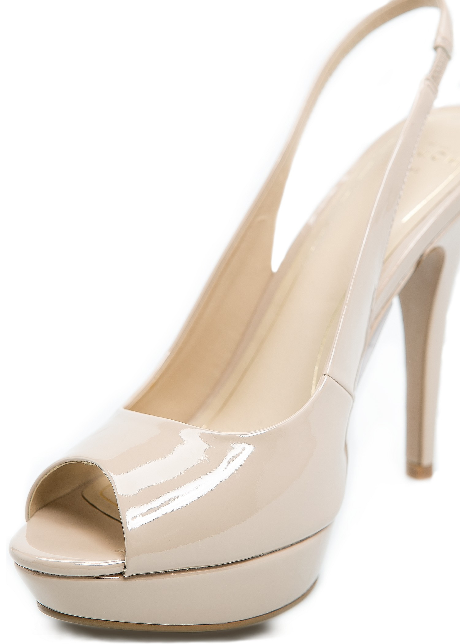 Lyst - Mango Touch Patent Sling Back Peep-toe Shoes in Natural ba9428d0a