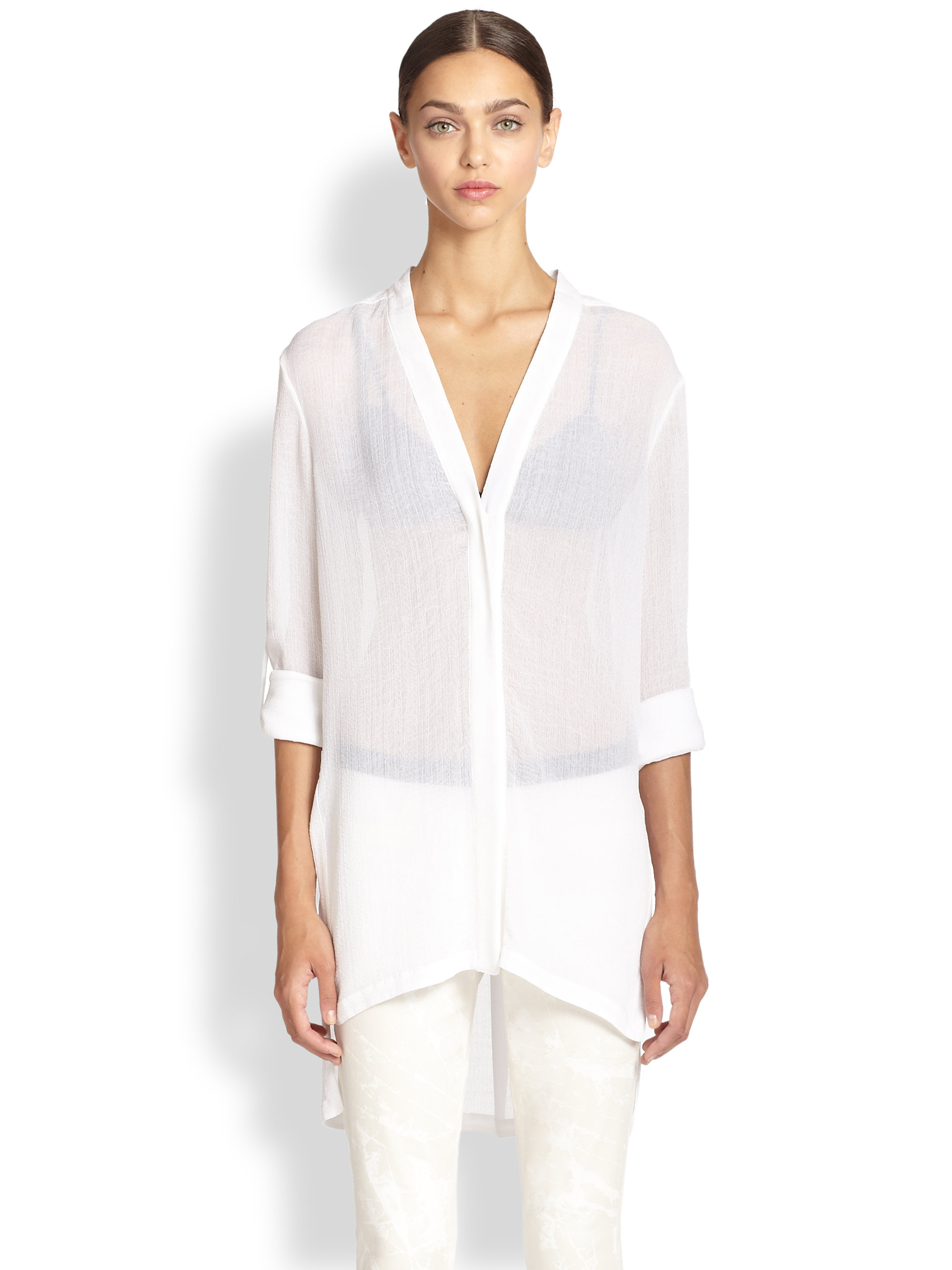 bfb256c0899e48 Lyst - Helmut Lang Swift Tunic Blouse in White