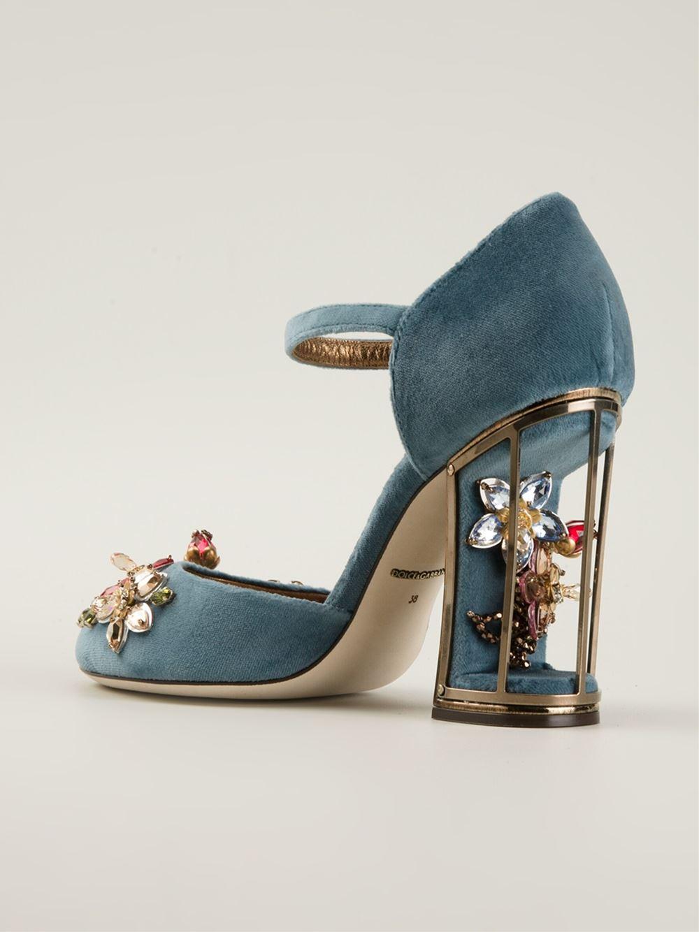 7a312c81d Dolce   Gabbana Gemstone Embellished Pumps in Blue - Lyst