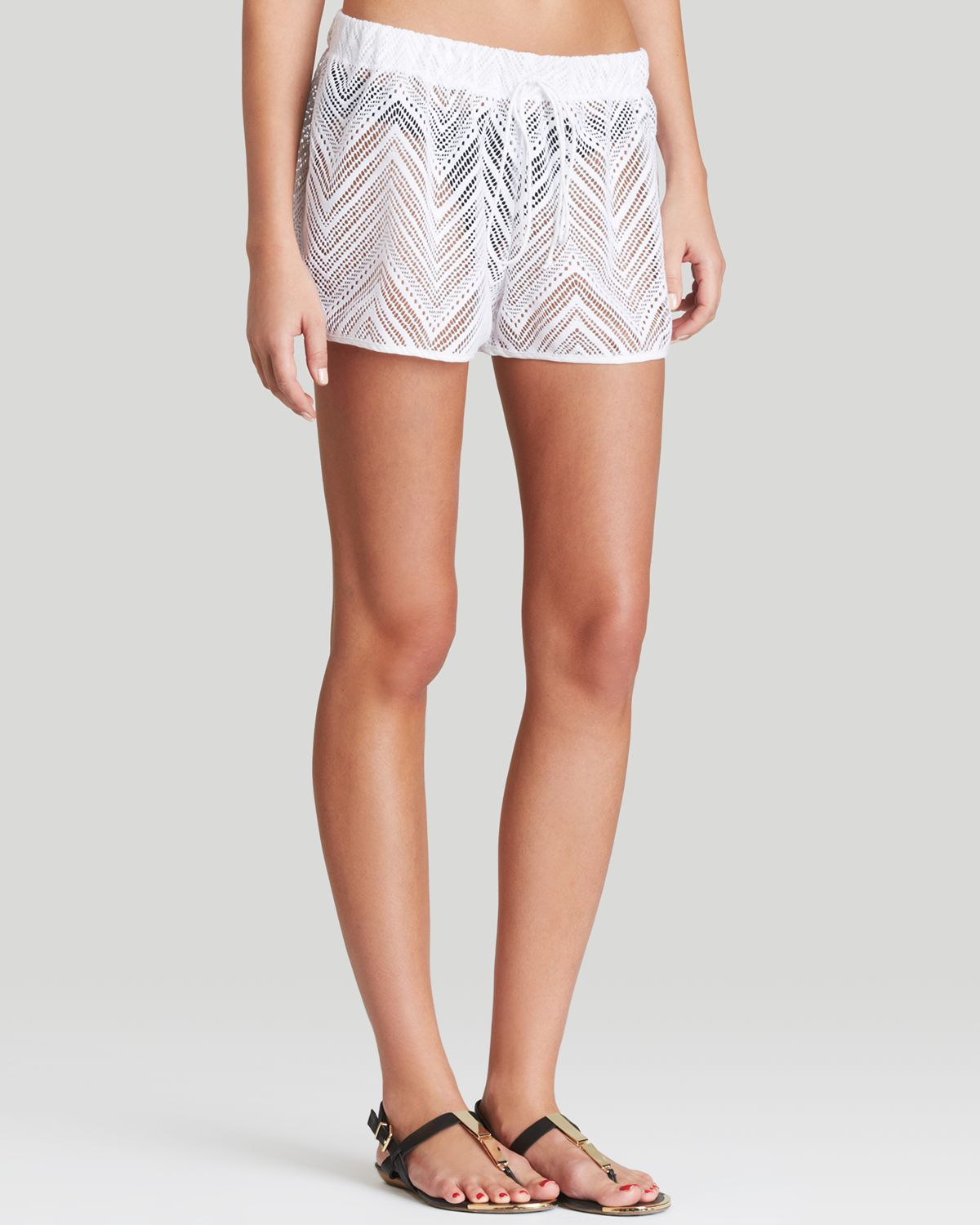 f4712b135b6 MILLY Gathered Crochet Swim Cover Up Shorts in White - Lyst