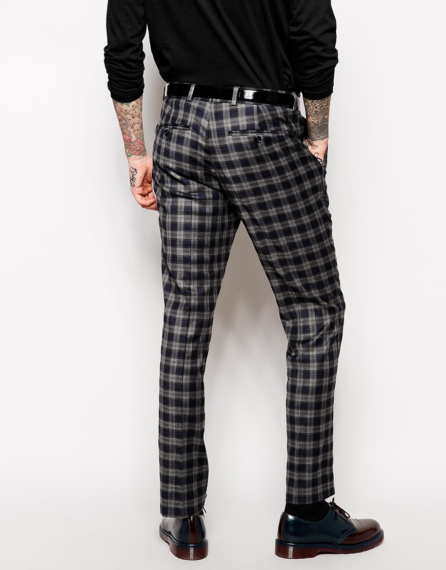 ASOS DESIGN 2 pack skinny smart trousers in black and grey SAVE. £ Bershka tailored check trousers in beige. £ Bershka carrot fit check trousers in black and red. £ River Island skinny smart trousers in off white. £ River Island skinny fit smart trousers in green.