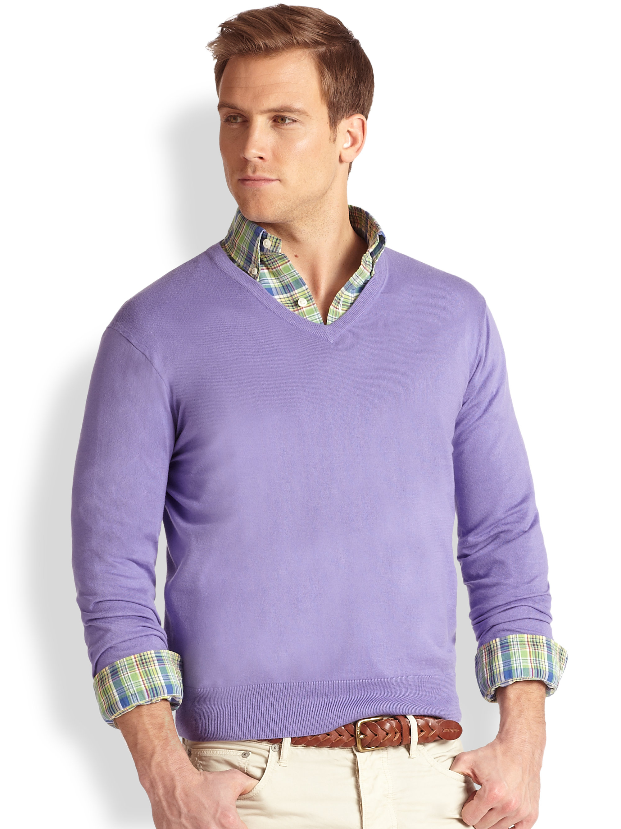 Polo ralph lauren Cotton-Cashmere V-Neck Sweater in Purple for Men ...