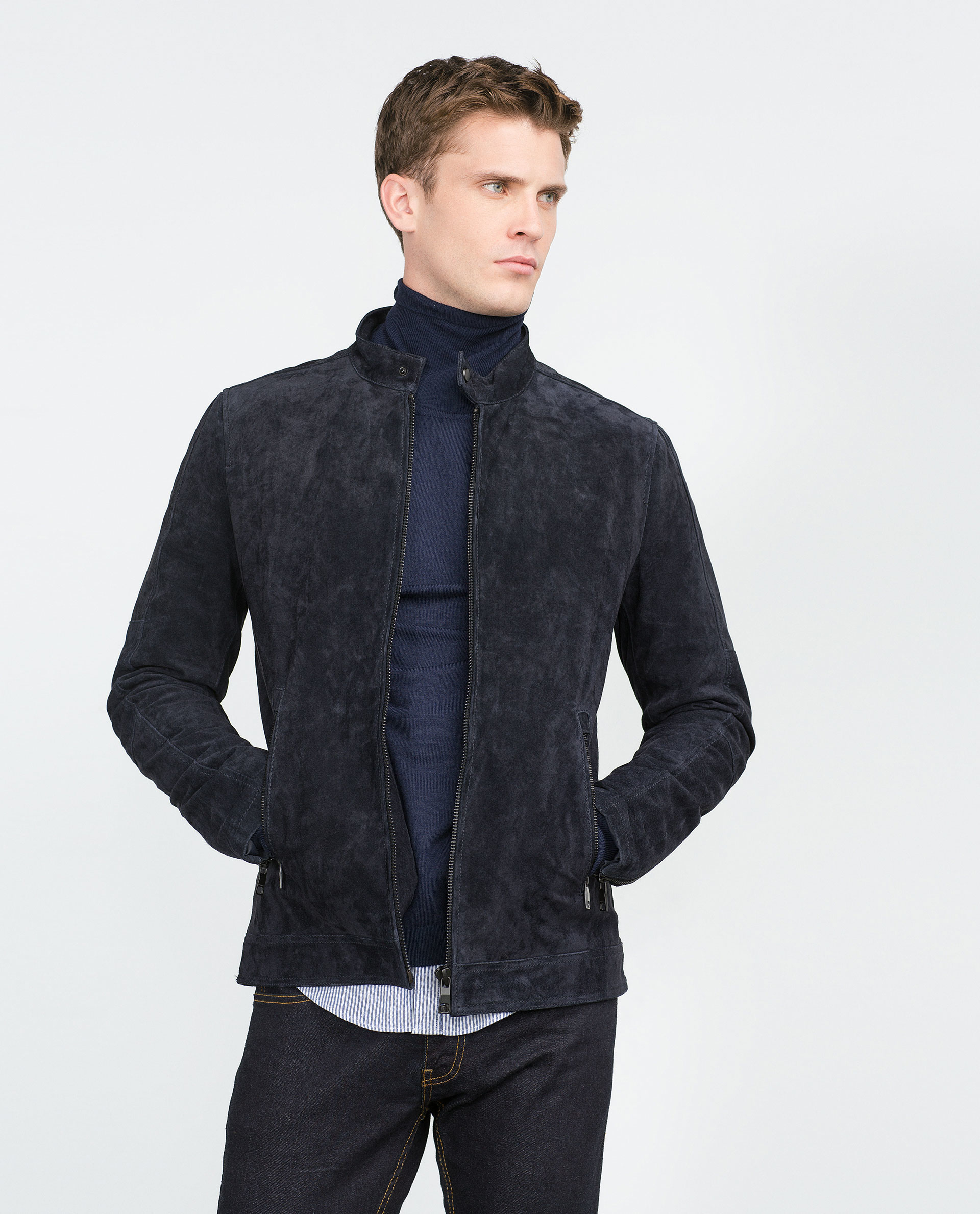 Zara Navy Split Suede Jacket In Blue For Men Lyst