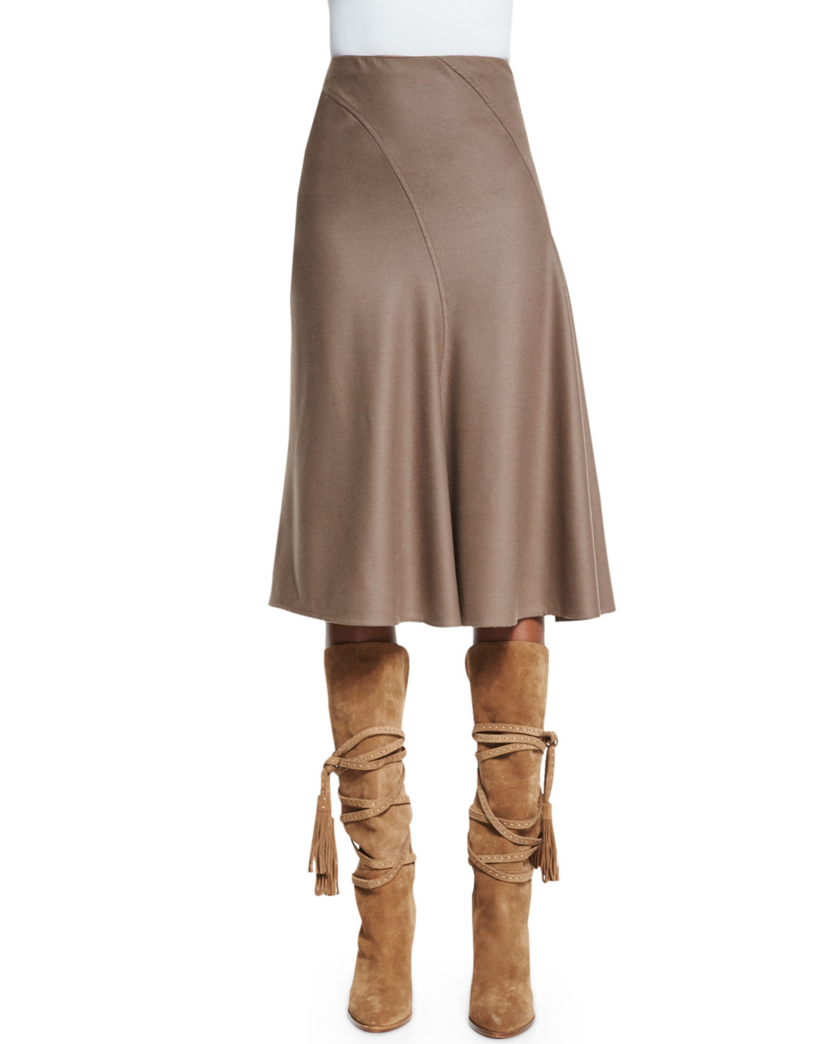 Pink pony A-line Bias-cut Skirt in Brown