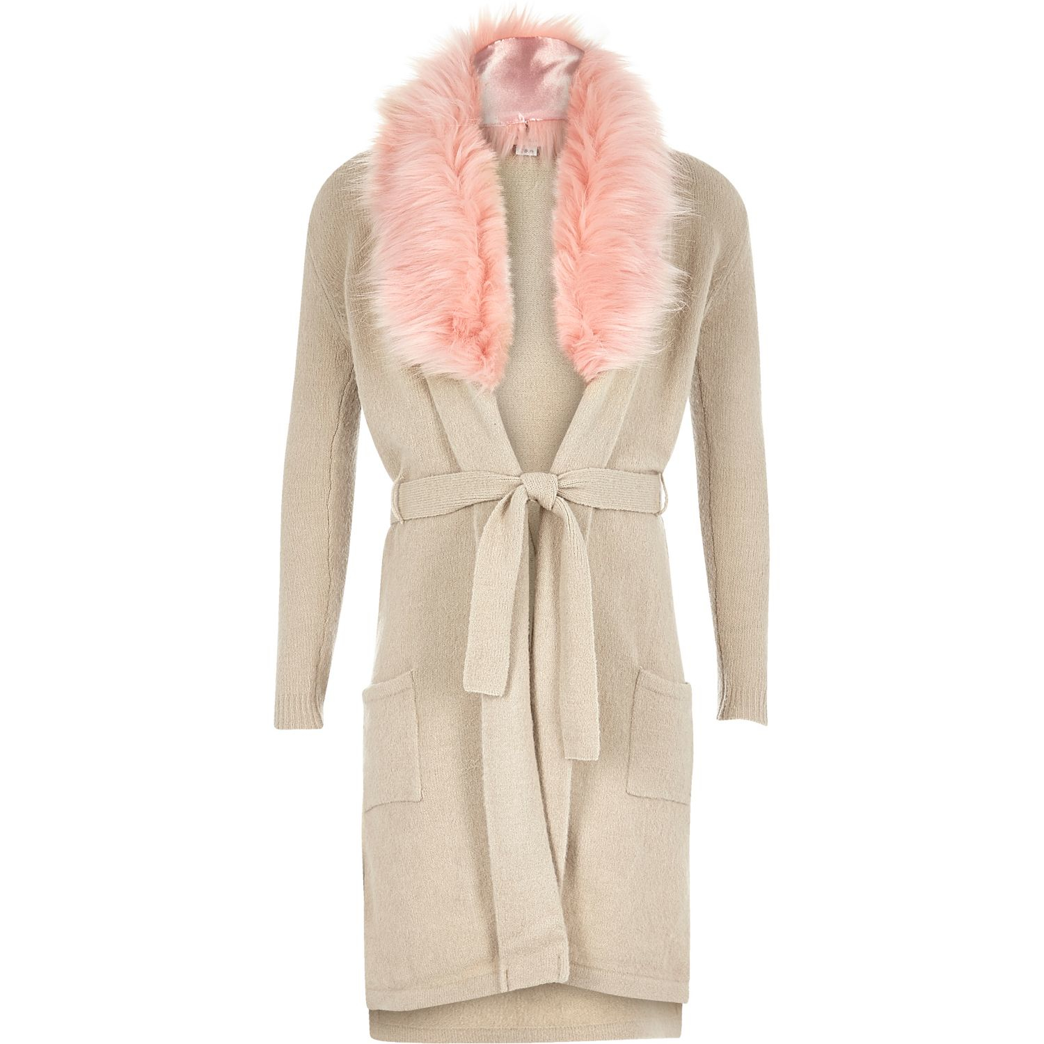 6e147a909 River Island Girls Beige Faux Fur Collar Long Cardigan in Natural - Lyst