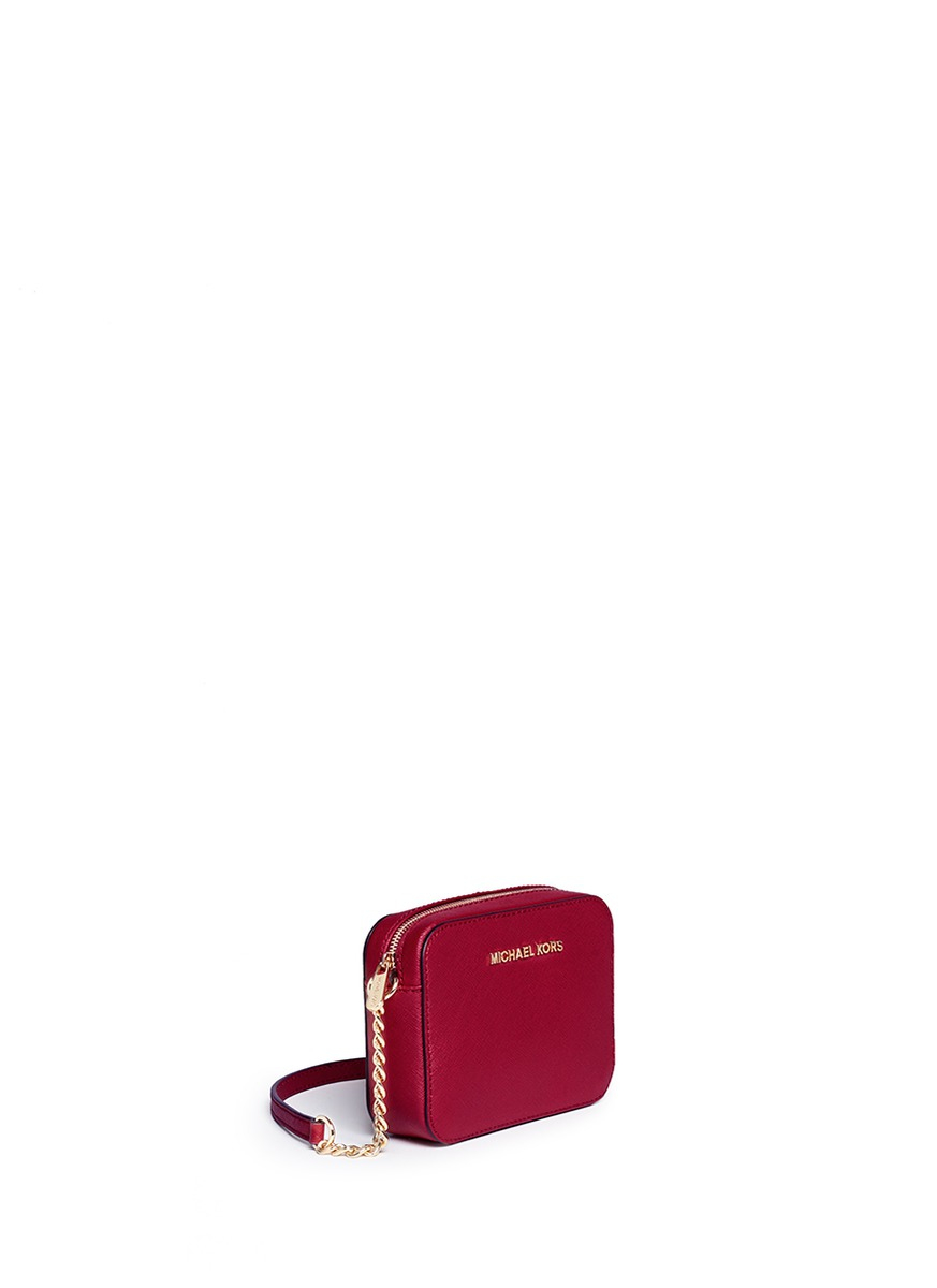 2f6d314f6642b5 Michael Kors 'jet Set Travel' Saffiano Leather Crossbody Bag in Red ...
