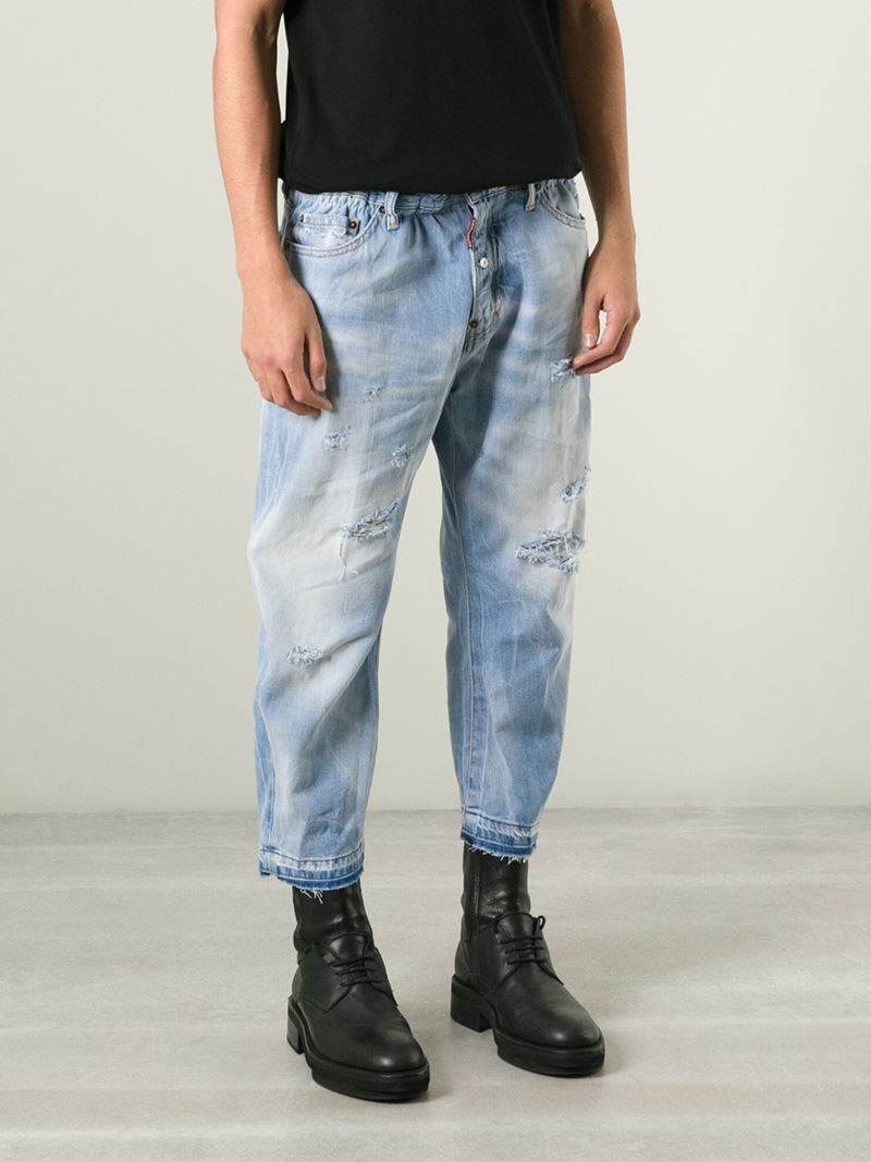 be7ff7e5 DSquared² Cropped Loose Fit Jeans in Blue for Men - Lyst