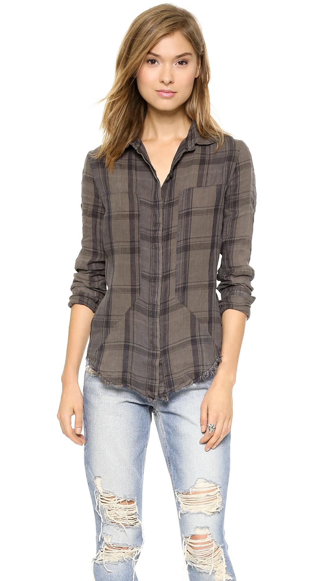 Rta industrial shirt grey plaid in gray grey plaid lyst for Grey plaid shirt womens