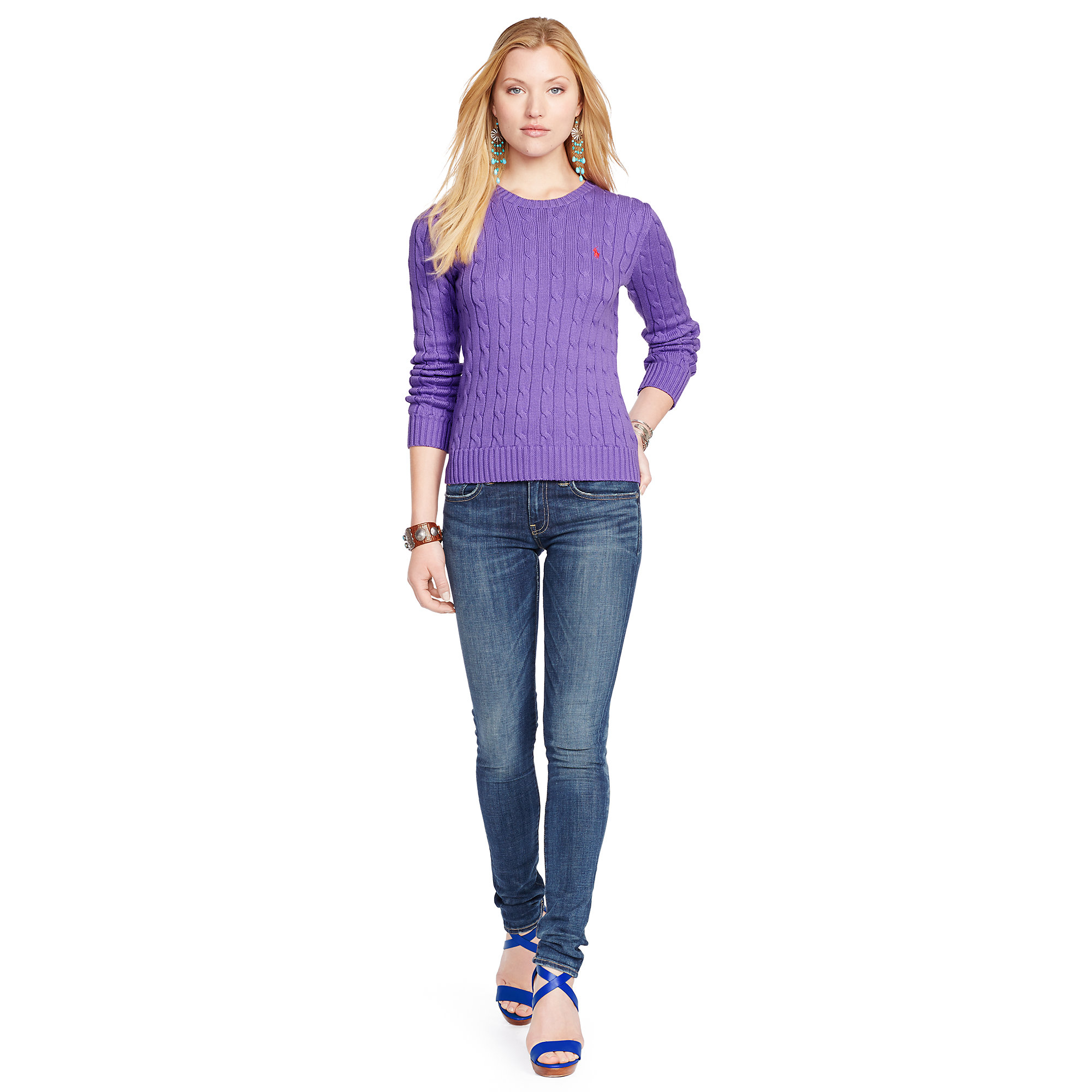 polo ralph lauren slim fit cabled cotton sweater in purple. Black Bedroom Furniture Sets. Home Design Ideas