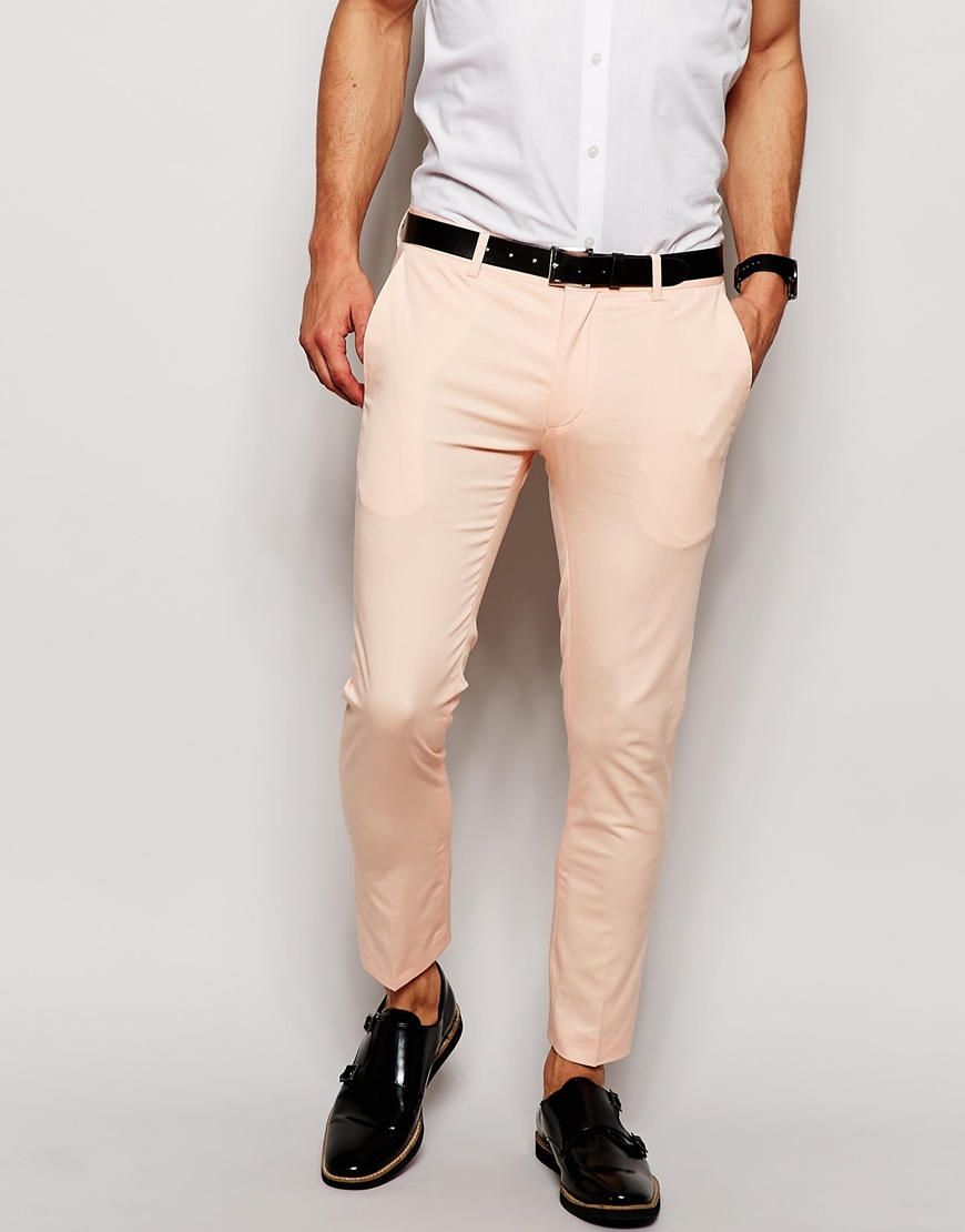 Asos Super Skinny Fit Cropped Smart Pants In Pale Pink in Pink for ...