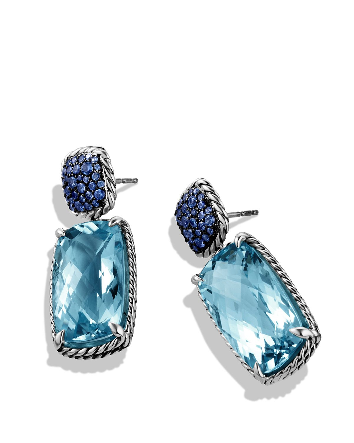 lyst david yurman chatelaine drop earrings with blue