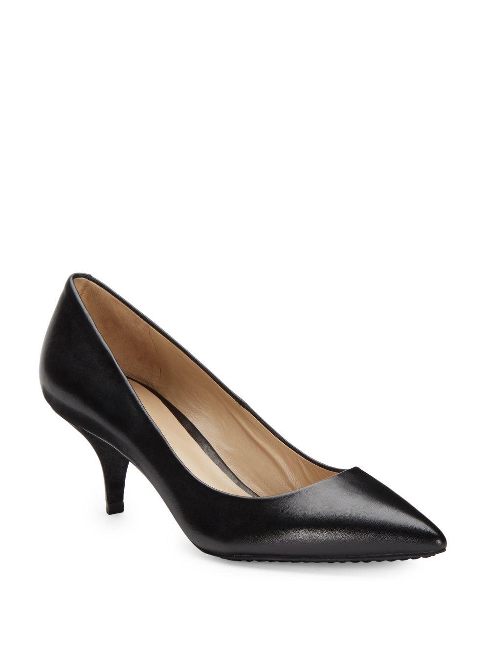 Black Leather Kitten Heel Pumps - Qu Heel