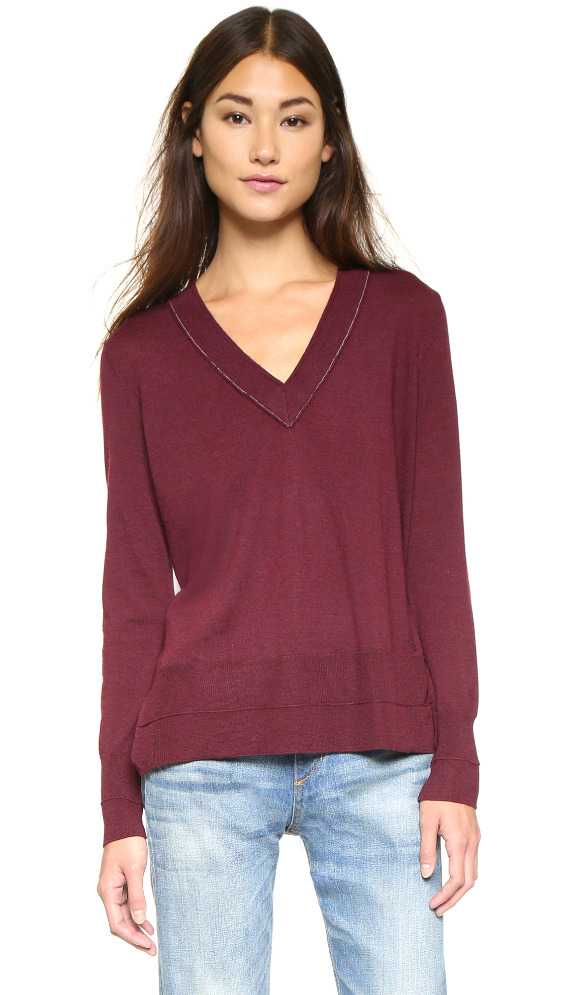 Rag & bone Leanna V Neck Sweater - Burgundy in Purple | Lyst