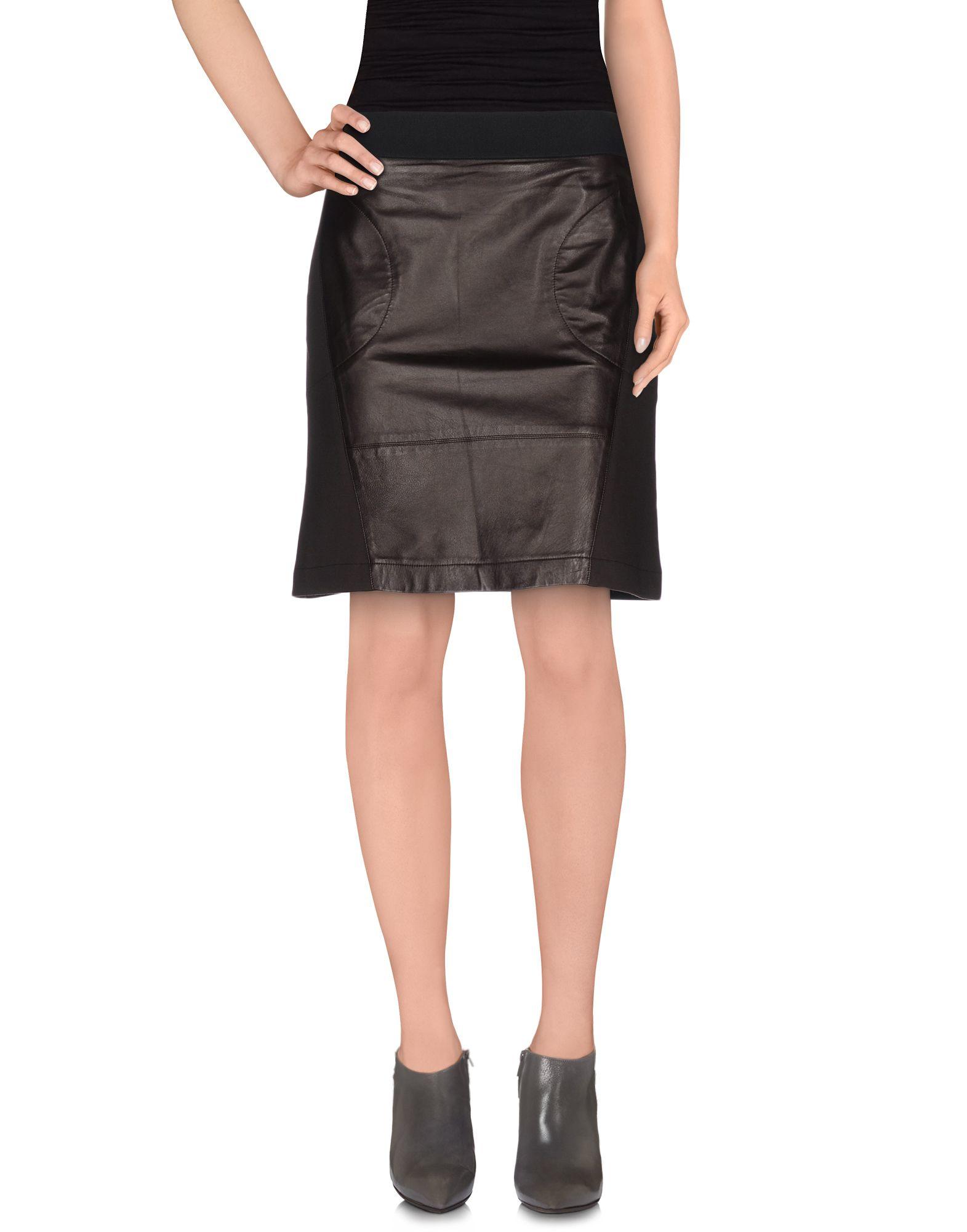 pianurastudio knee length skirt in brown lyst