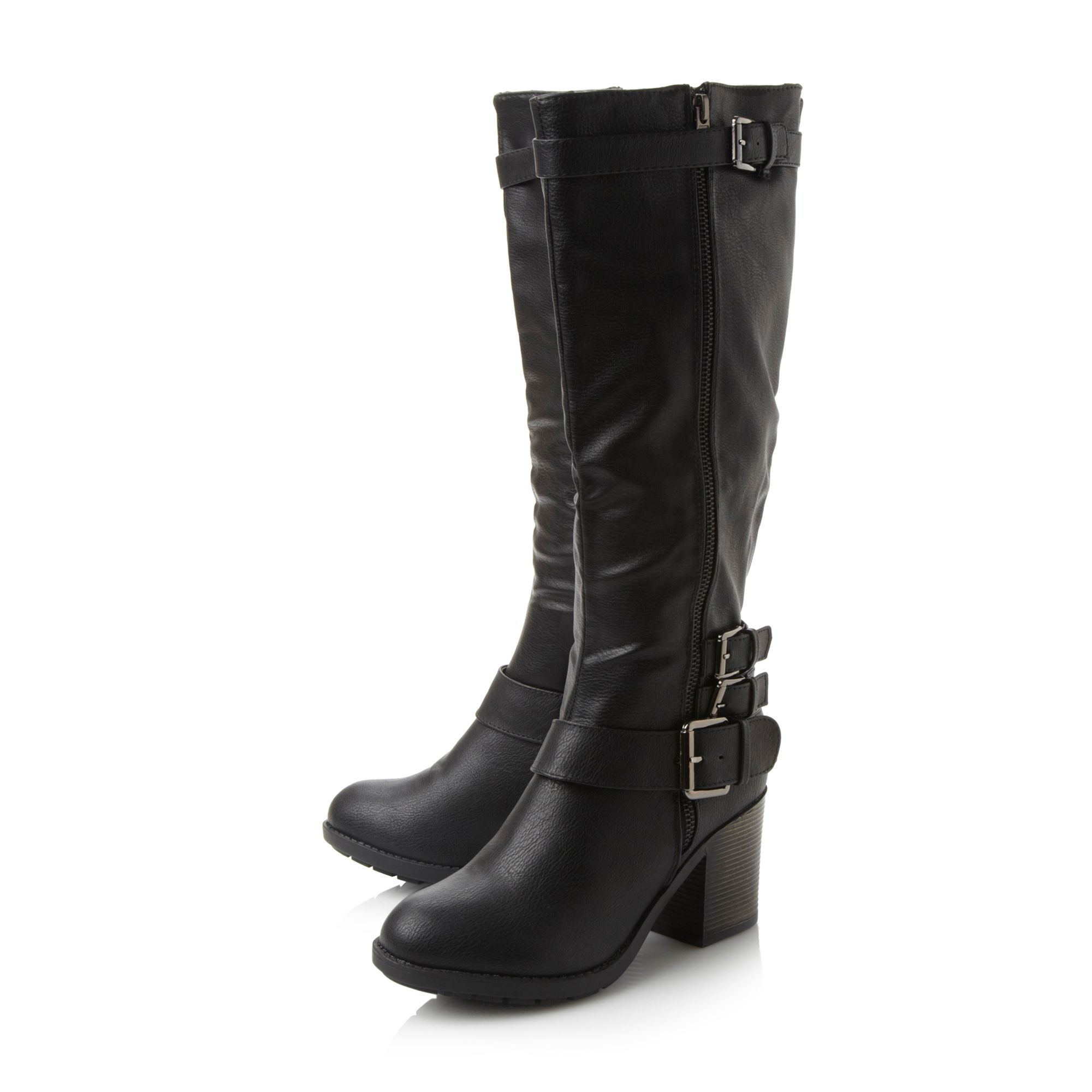 dune tizzle buckle detail knee high boots in black lyst