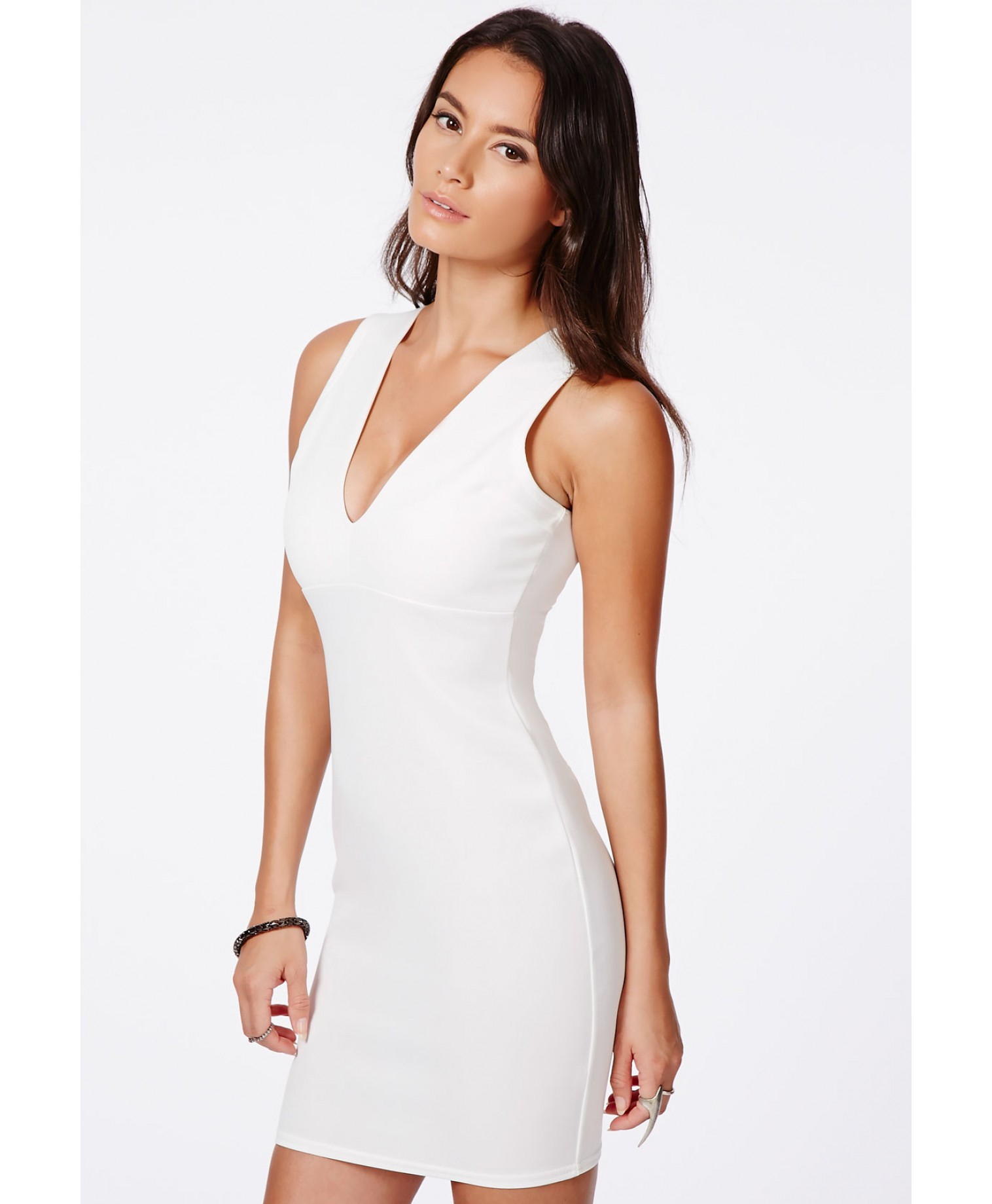 4268c4d90d Lyst - Missguided Kesari White Plunge Neck Bodycon Mini Dress in White