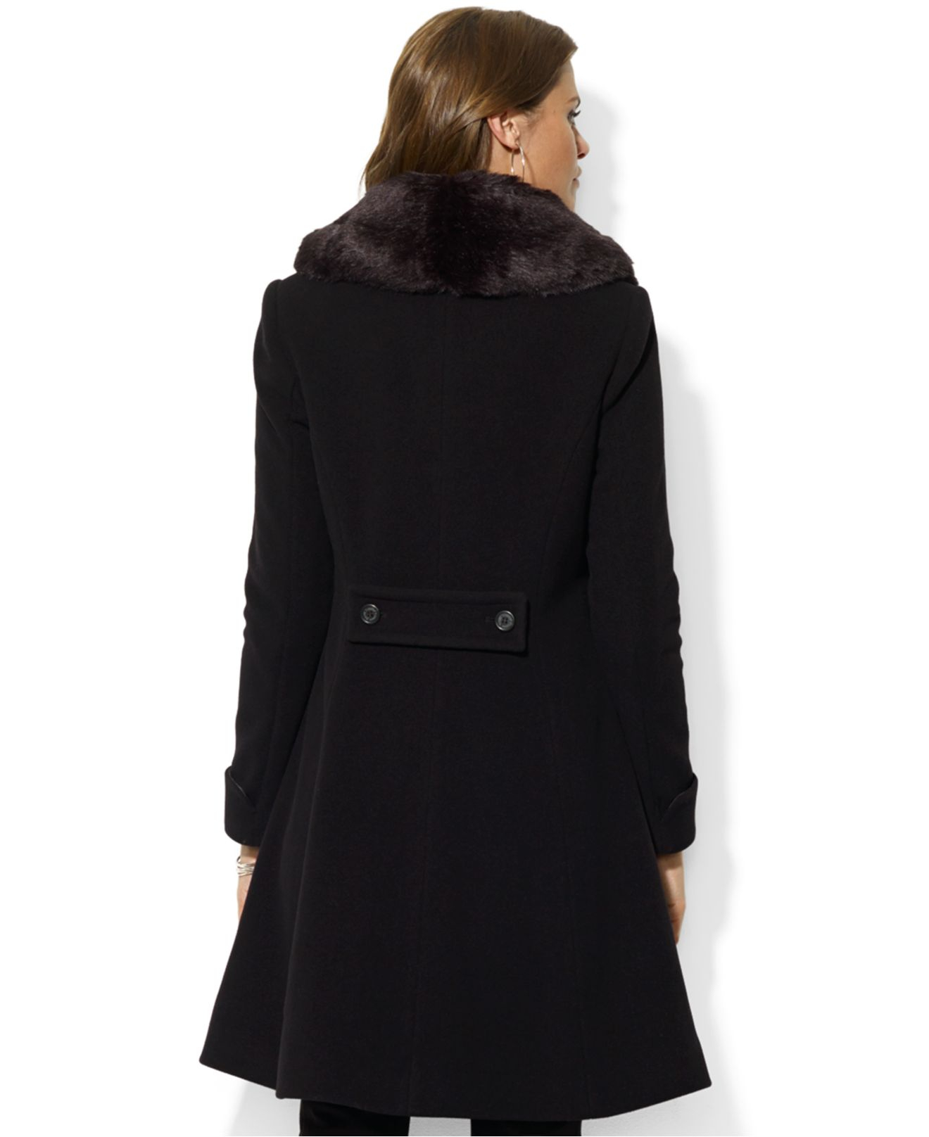Lauren by ralph lauren Faux-Fur-Collar A-Line Coat in ...