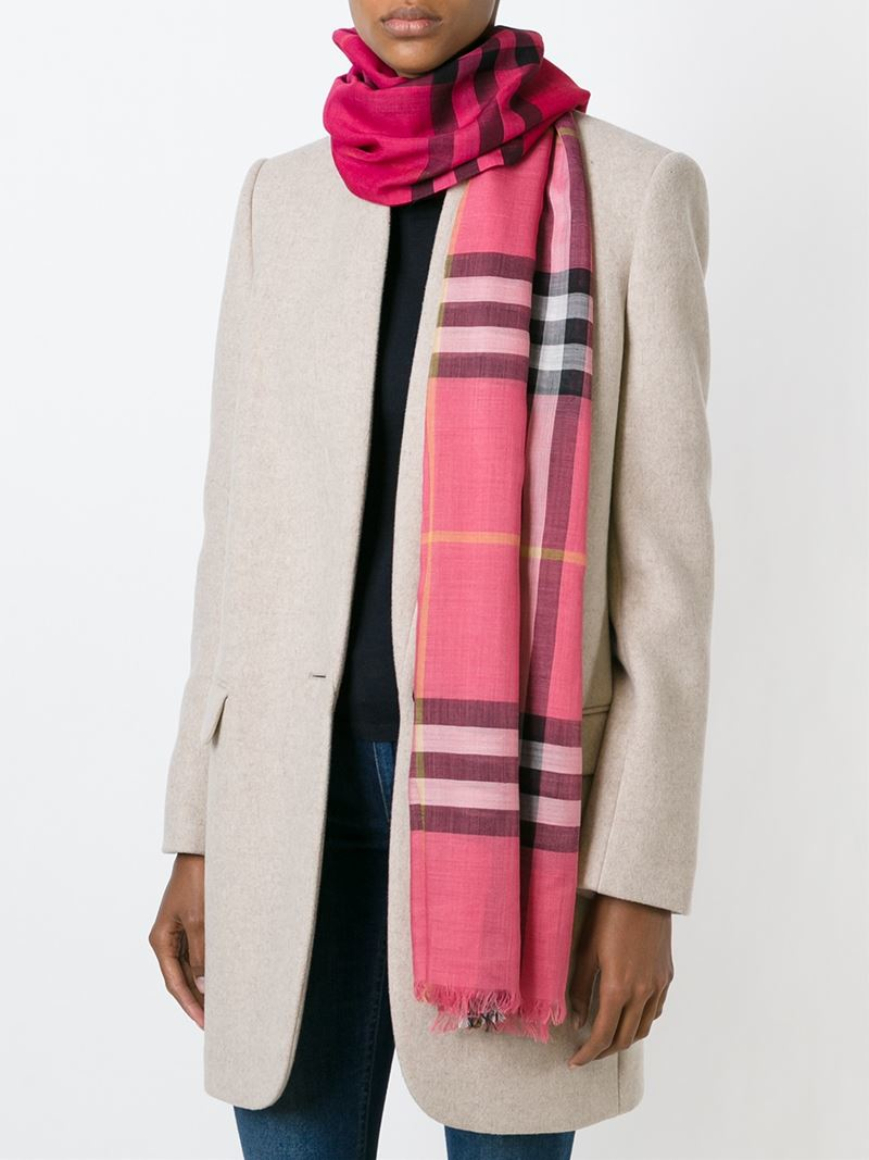 Lyst Burberry Checked Scarf In Pink