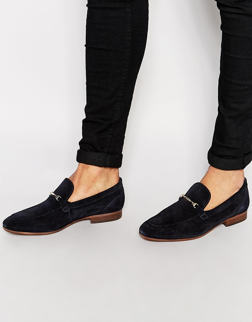H By Hudson Navarre Suede Loafers In Black For Men Lyst