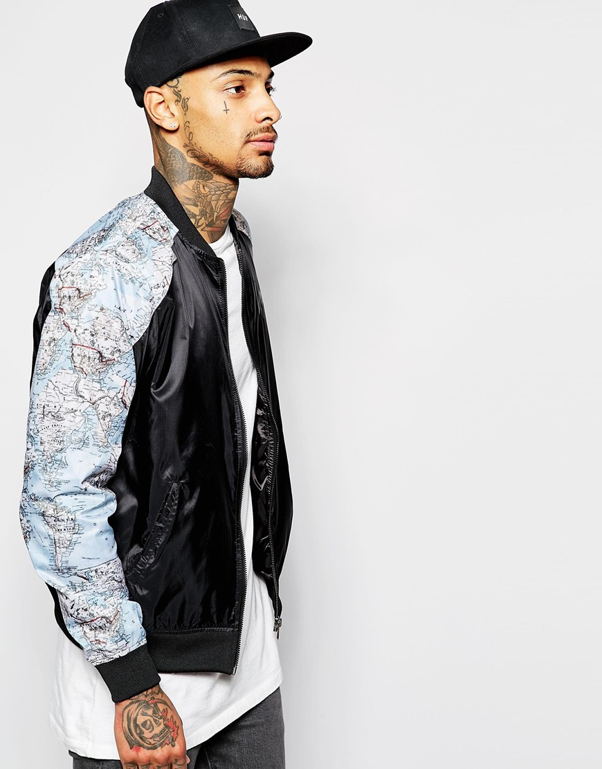 Hype Bomber Jacket With Map Print in Black for Men | Lyst