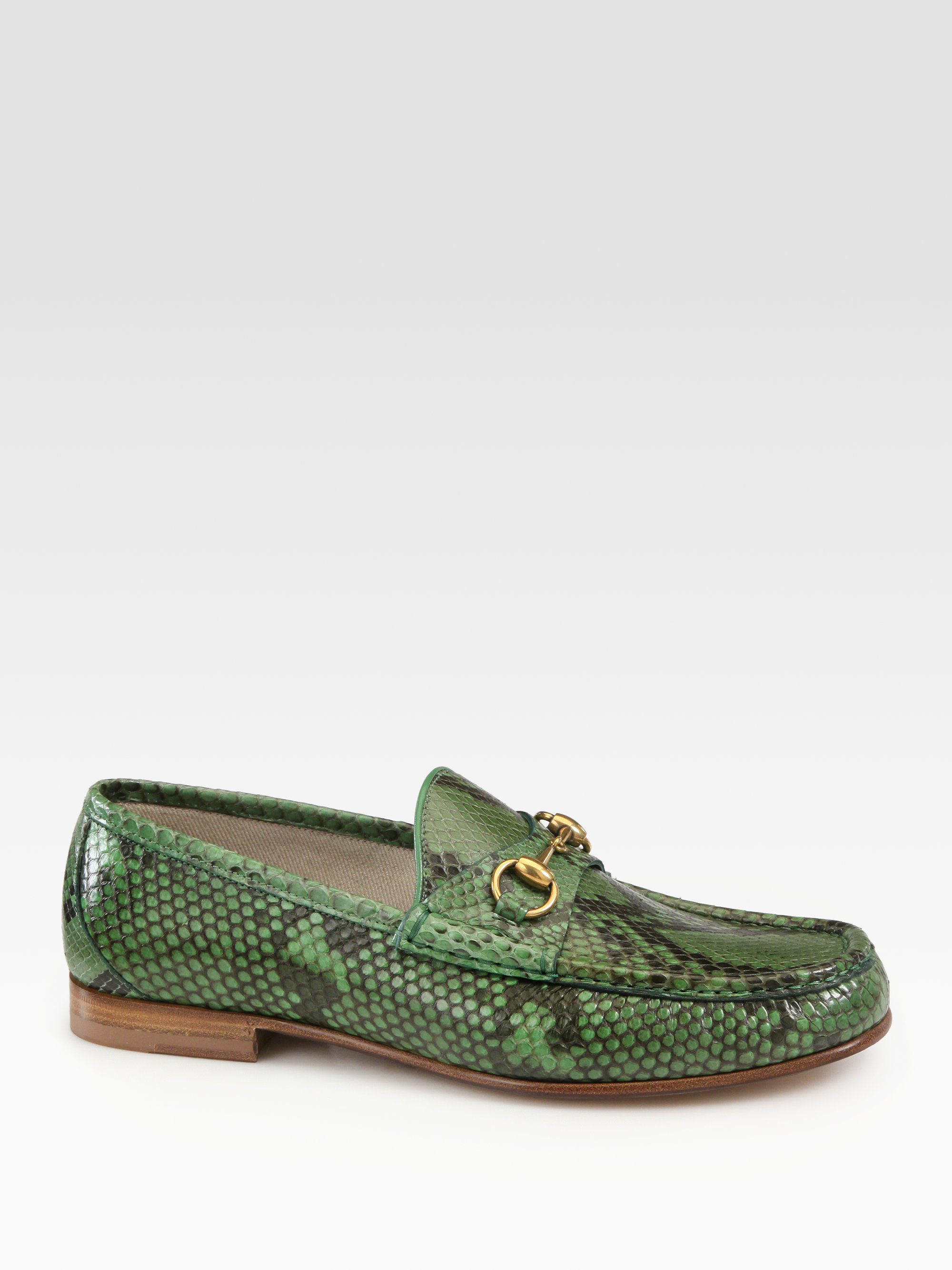 46407964efd Lyst - Gucci Green Python Horsebit Loafers in Green for Men