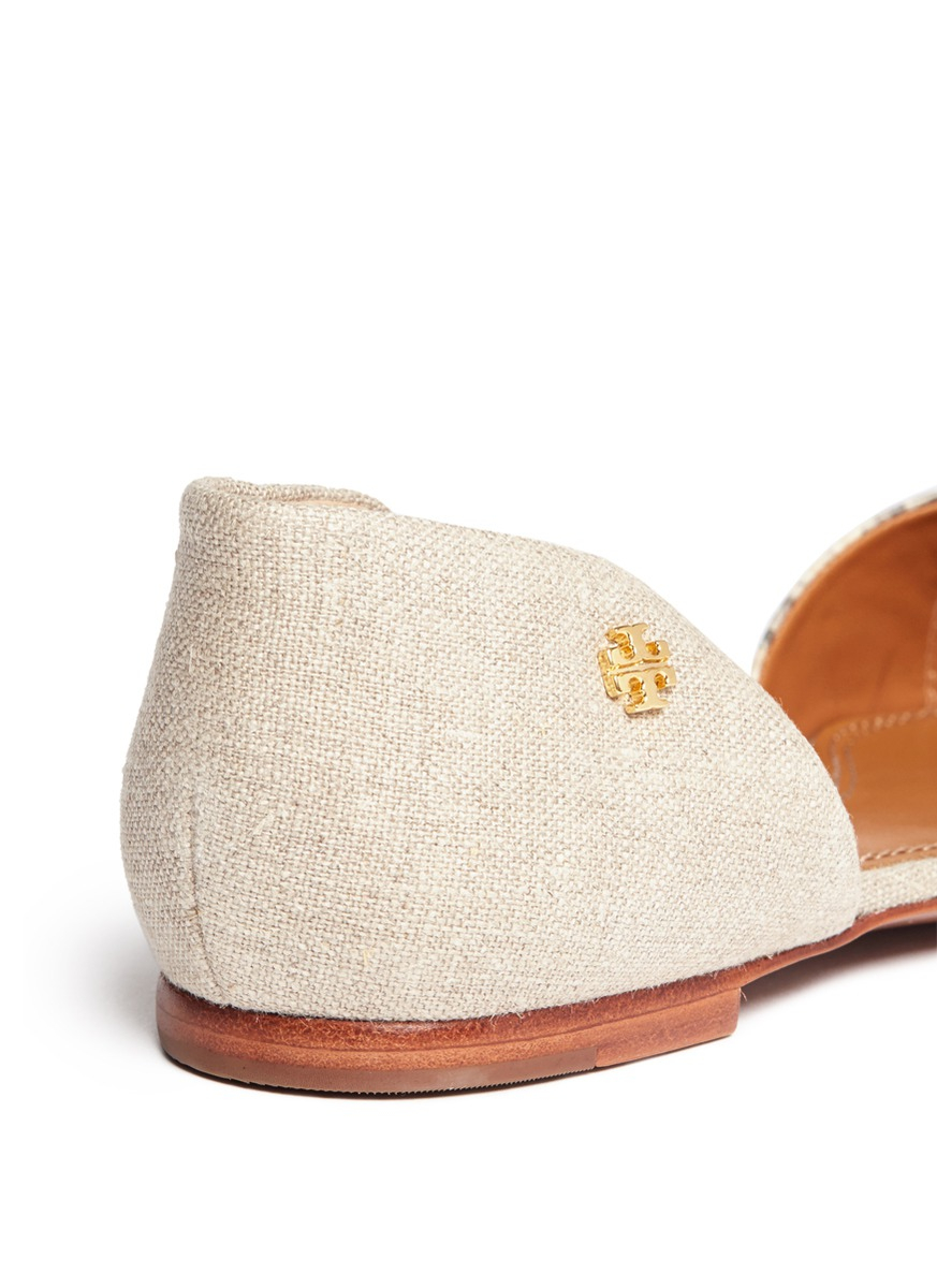 16e0ff81b5c9 Lyst - Tory Burch Viv Leather And Linen D orsay Flats in Natural