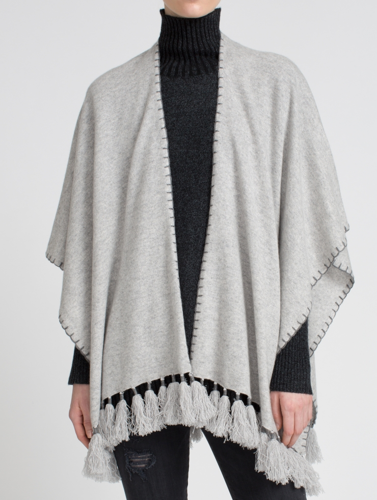 White + warren Cashmere Two Way Tassel Poncho in Gray | Lyst