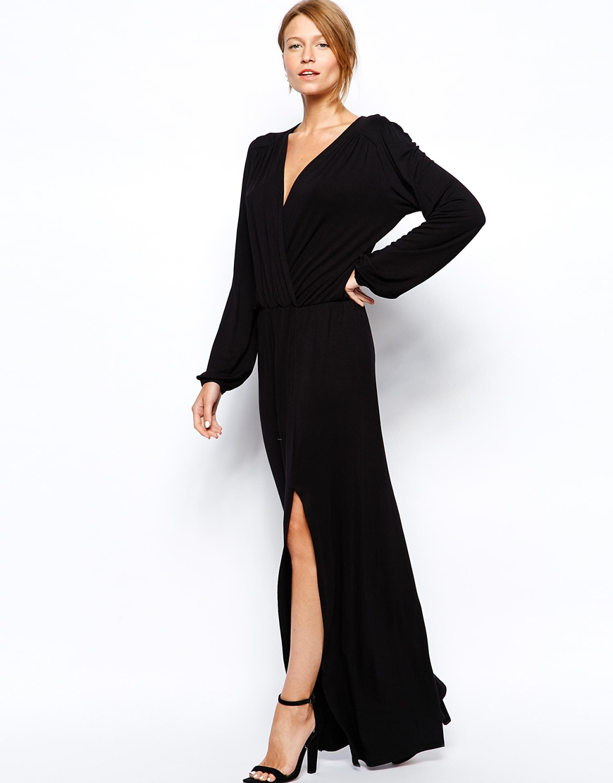Lyst Love Plunge Wrap Front Maxi Dress With Thigh Split