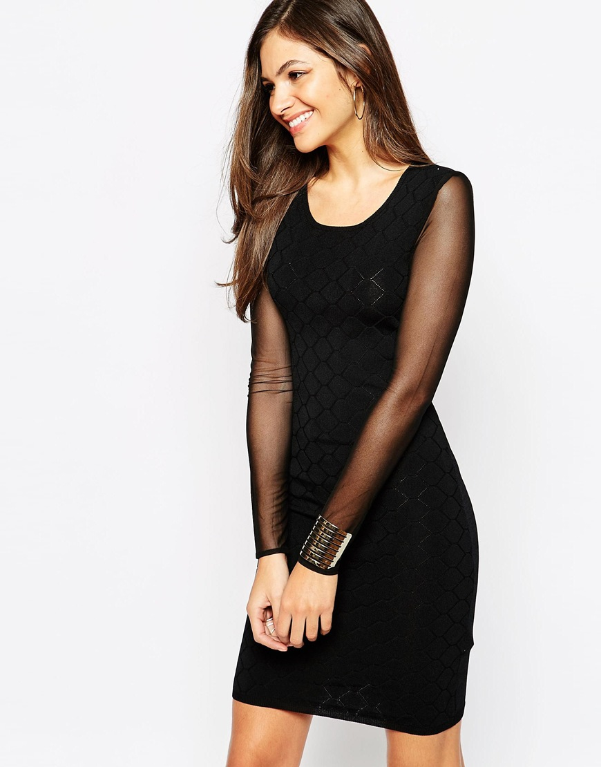 Lyst - Y.A.S Lacey Dress With Sheer Long Sleeves in Black