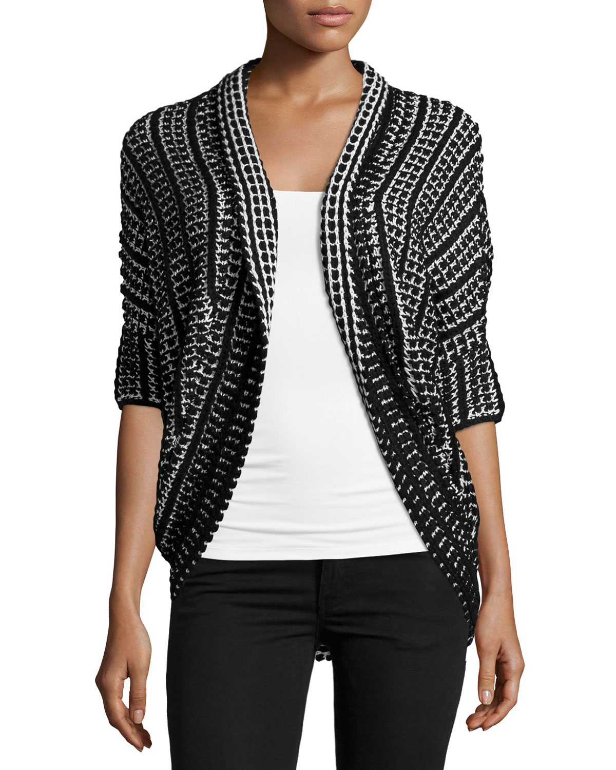 Neiman marcus Short-sleeve Open-front Cocoon Cardigan in Black | Lyst