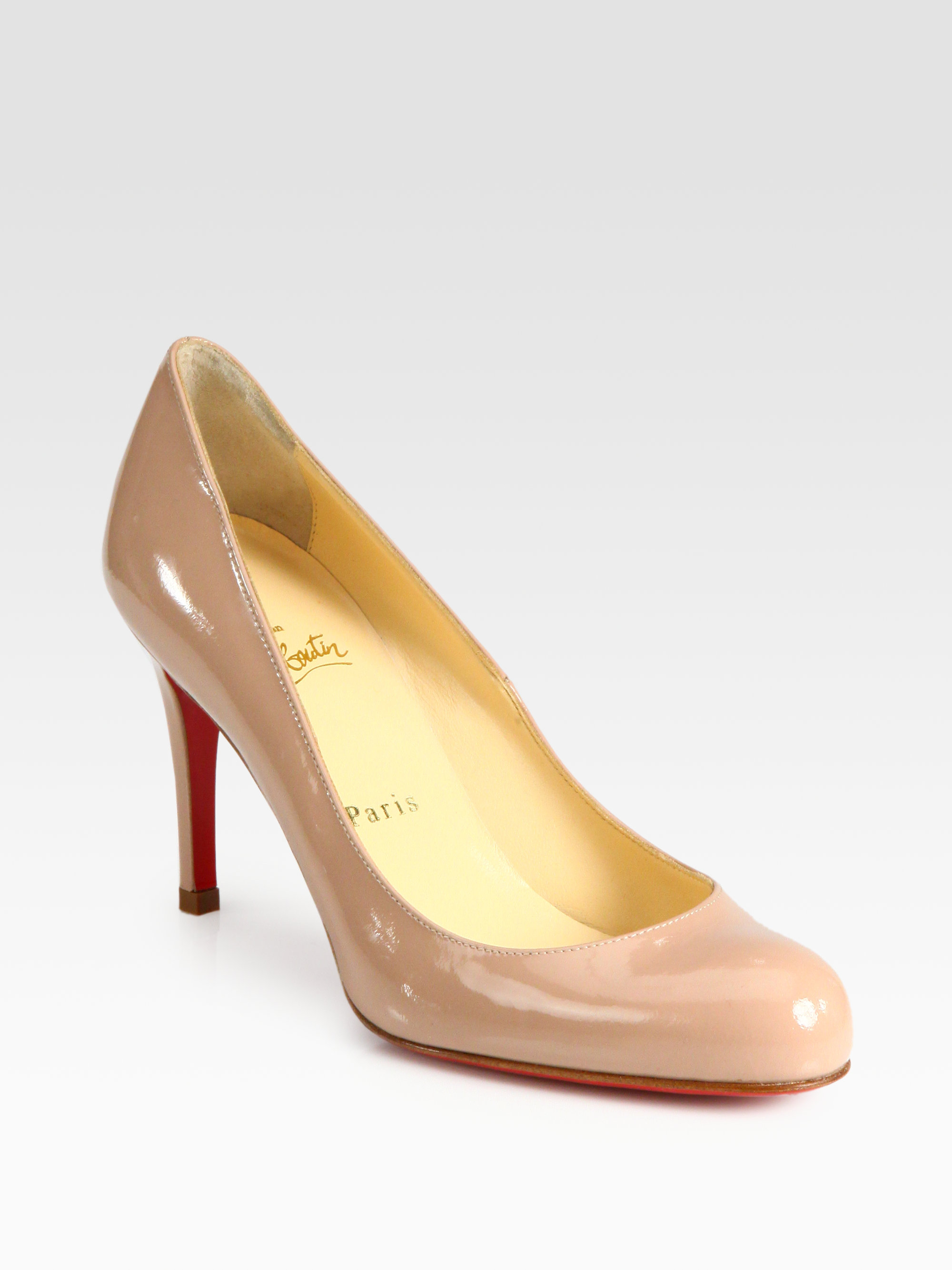 christian louboutin round-toe wedges Red patent leather covered ...