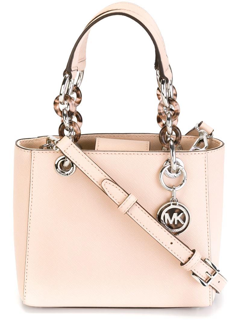 acf24fb3e08a Lyst - MICHAEL Michael Kors Extra Small  cynthia  Crossbody Bag in Pink