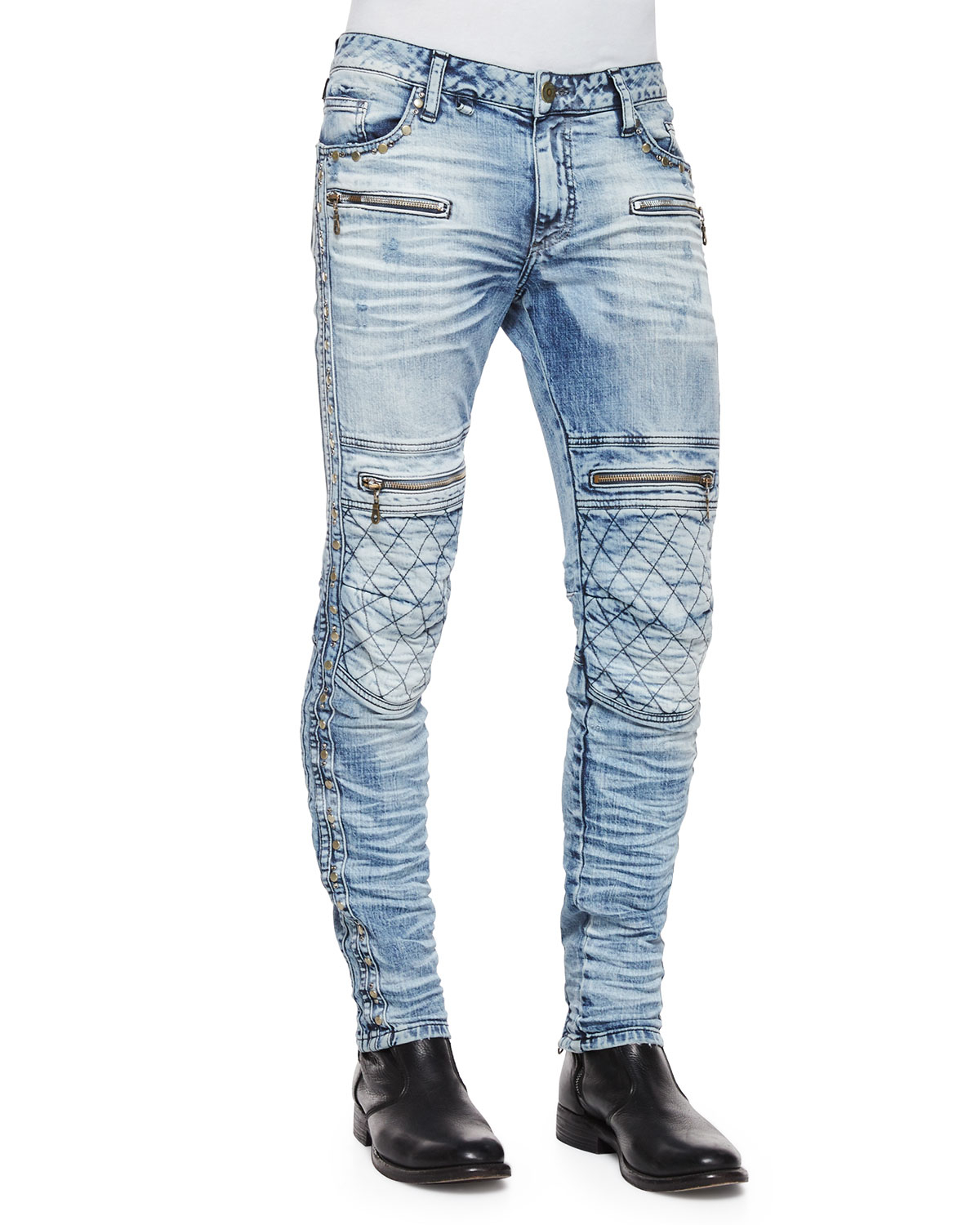 Robin's jean Quilted-knee Washed Moto Jeans in Blue for Men | Lyst