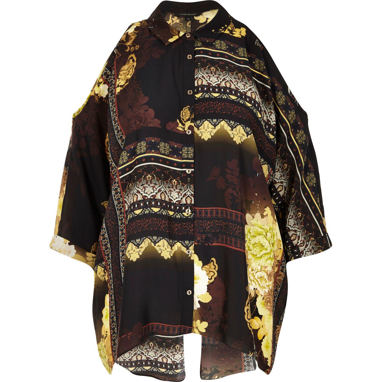 b81a7657608bc River Island Yellow Print Cold Shoulder Shirt in Black - Lyst