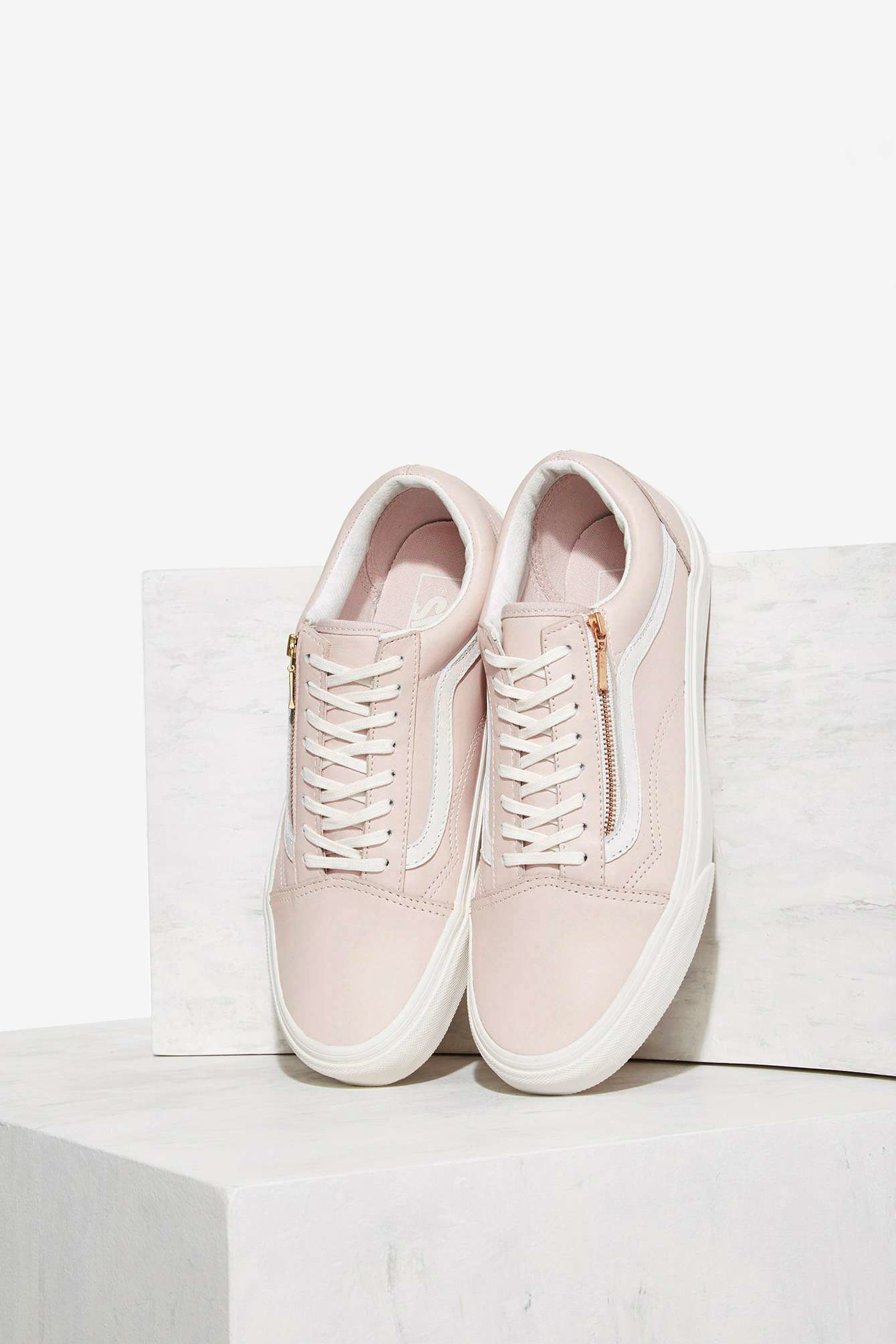 vans old skool zip leather sneaker in pink lyst. Black Bedroom Furniture Sets. Home Design Ideas