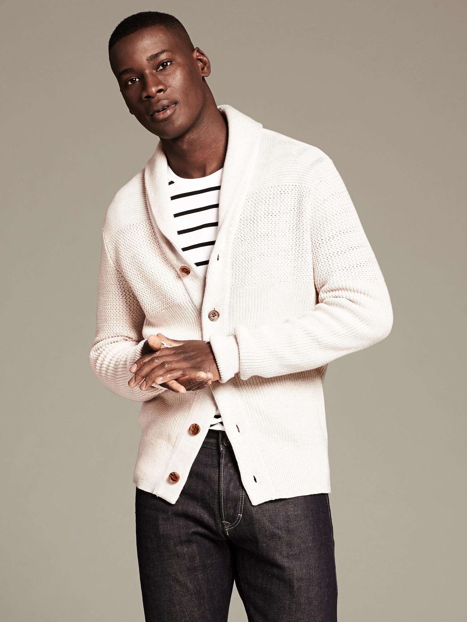 Lyst Banana Republic Modern Textured Shawl Collar Cardigan In