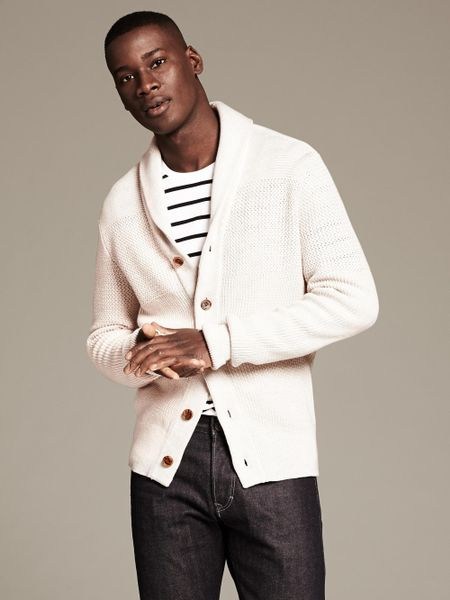 Mens Cream Shawl Collar Cardigan - Cardigan With Buttons