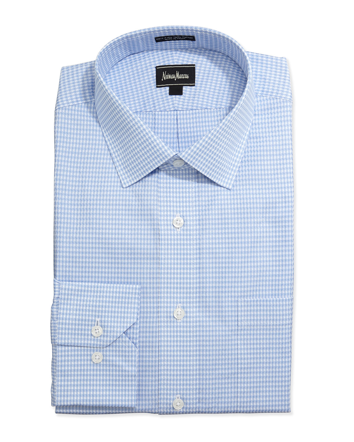 Neiman marcus classic fit grid check dress shirt in blue for Blue check dress shirt